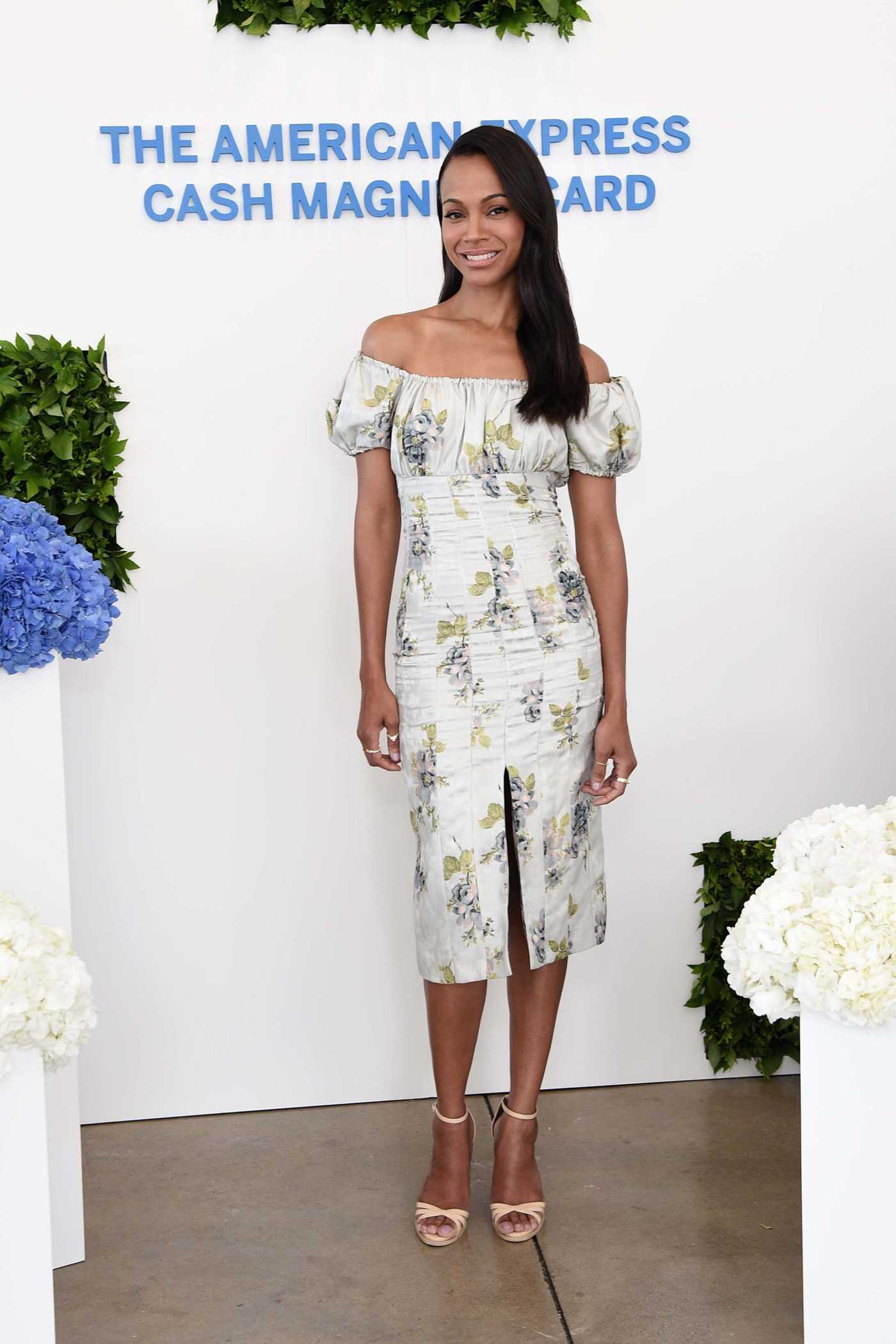 Zoe Saldana Celebrates the Launch of the New American Express Cash Magnet Card at the Simplify Your Summer Event in NYC 06/14/2018
