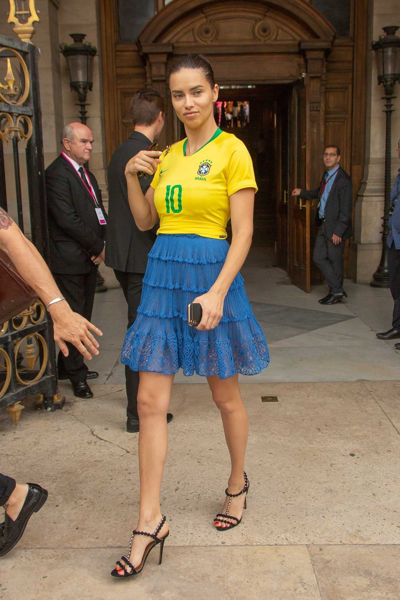 Adriana Lima Wears a Brazil Football Shirt in Honour of the World Cup in Paris 07/02/2018