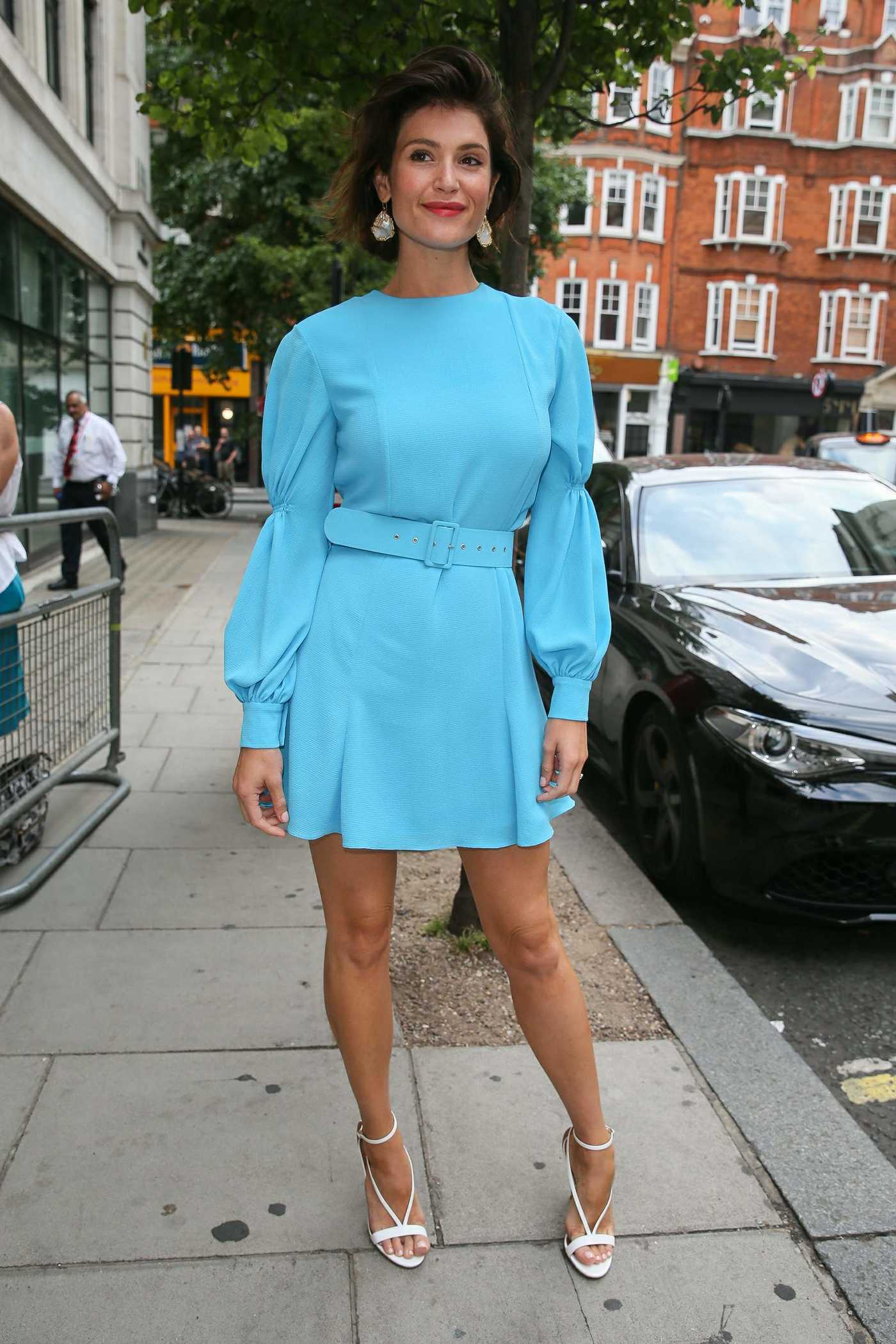 Gemma Arterton Wears a Short Turquoise Dress as She Arrives at BBC Radio Two Studios in London 07/20/2018