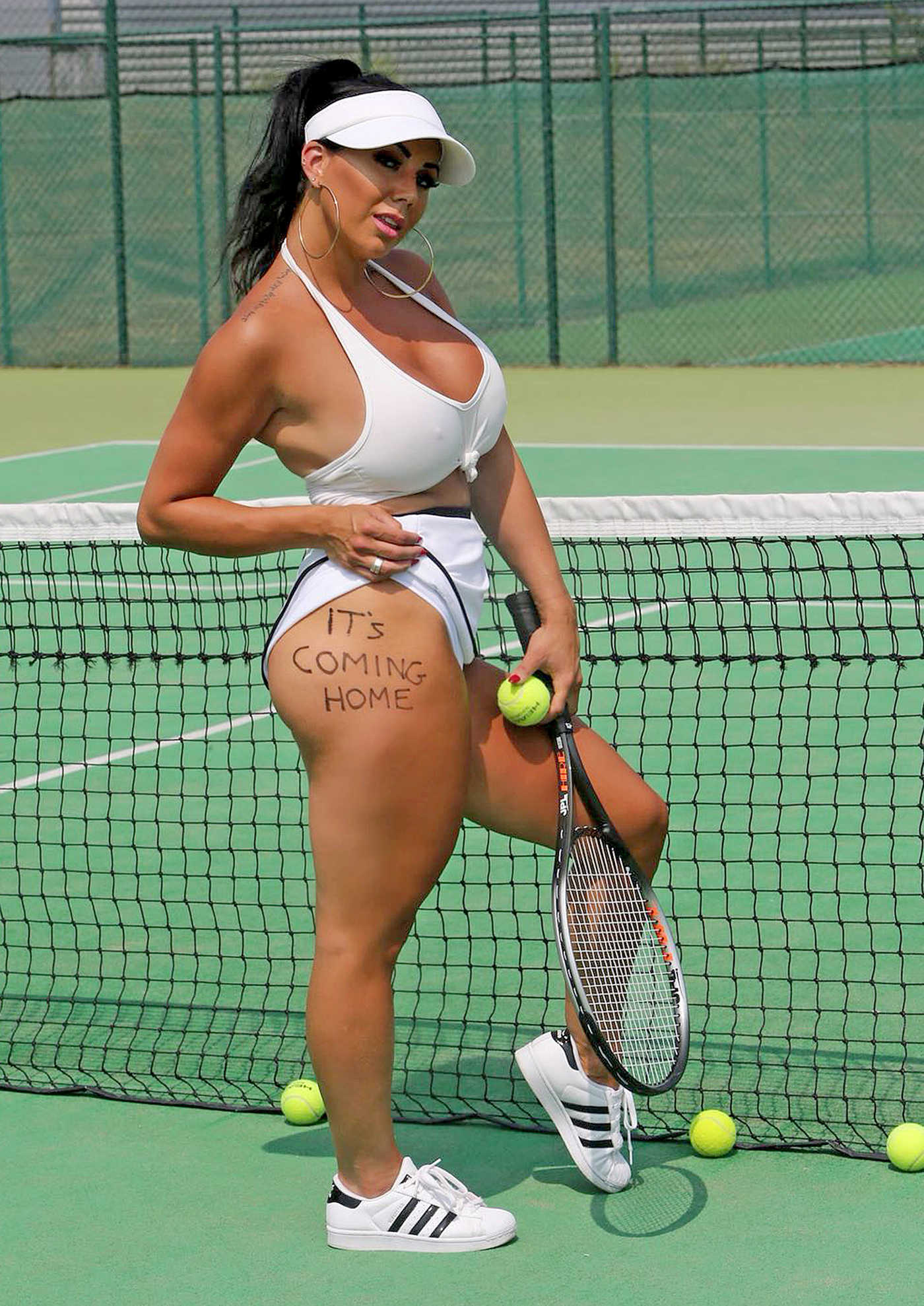 Grace J Teal on the Set of Tennis Poster in Southend 07/08/2018