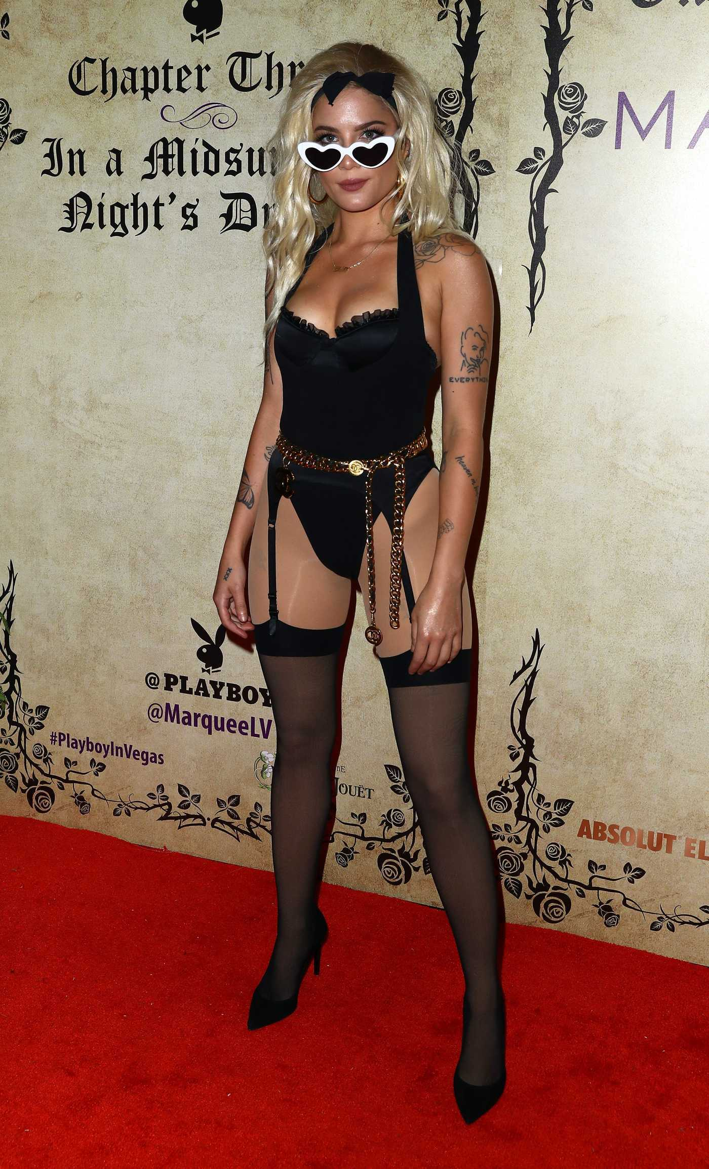 Halsey in a Black Lingerie During Playboy's Midsummer Night's Dream at Marquee Nightclub in Las Vegas 07/28/2018