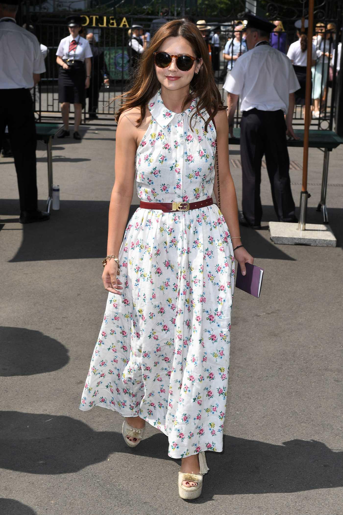Jenna-Louise Coleman Arrives at Wimbledon Tennis Tournament in London 07/13/2018