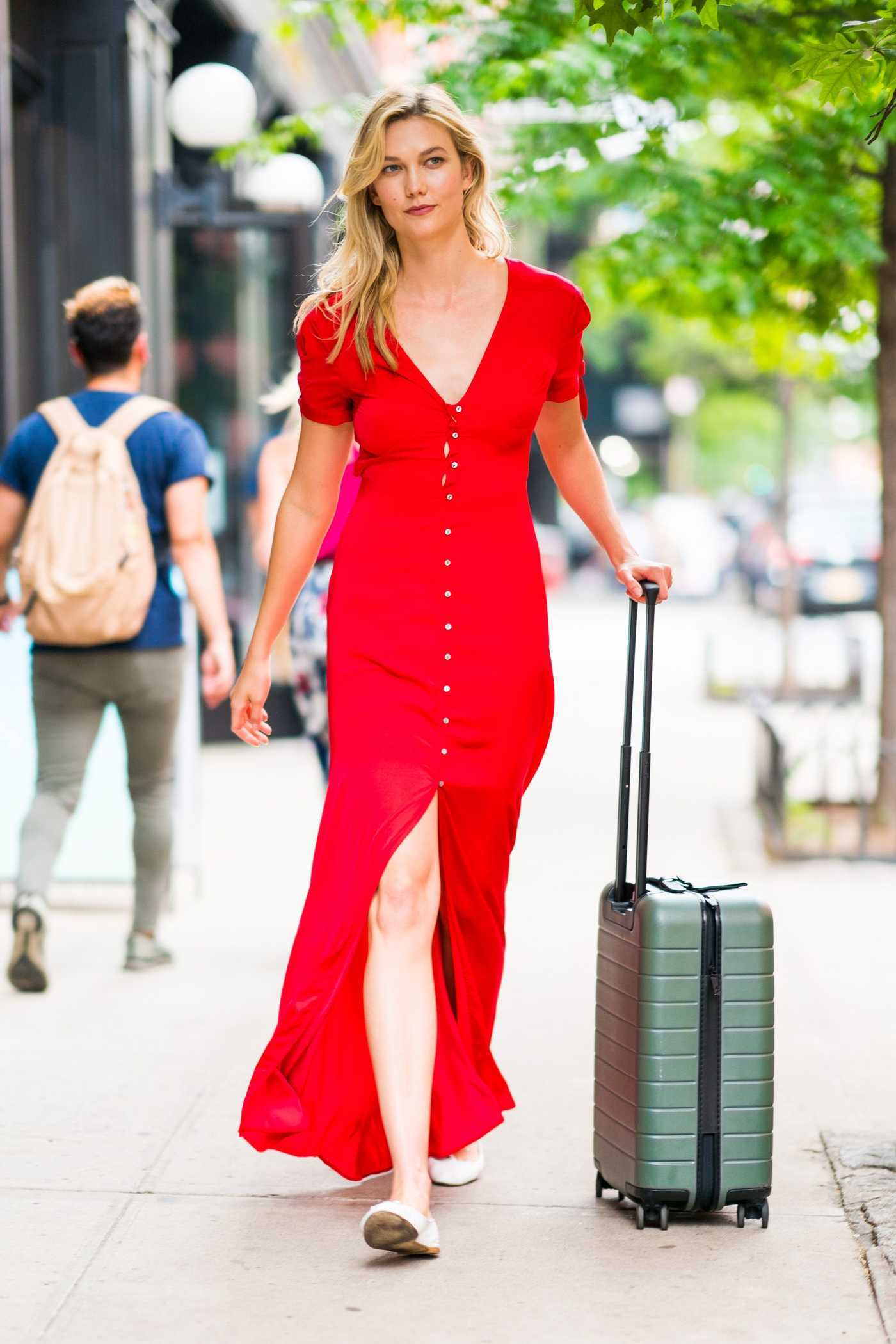 Karlie Kloss Wears a Karlie Kloss X Express Red Dress Out in New York City 07/11/2018