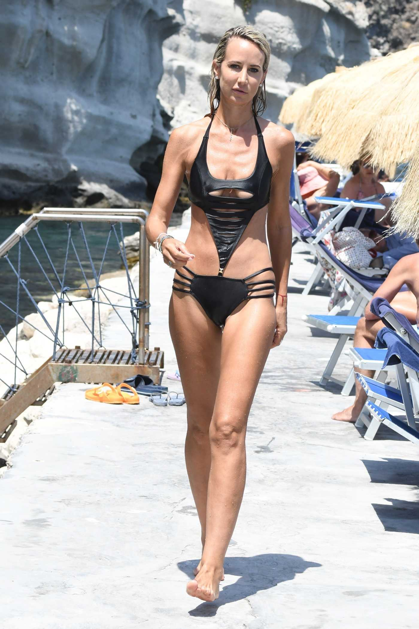 Lady Victoria Hervey in Black Bikini in Hotel Regina Isabella in Ischia 07/19/2018