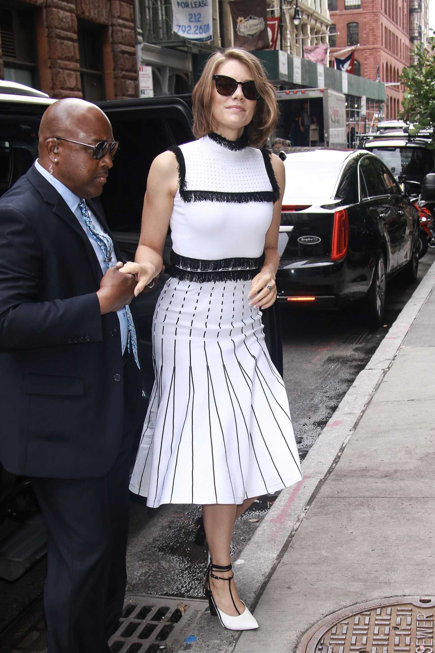 Lauren Cohan in a Vintage White Dress Visits AOL Build Series in New York City 07/26/2018