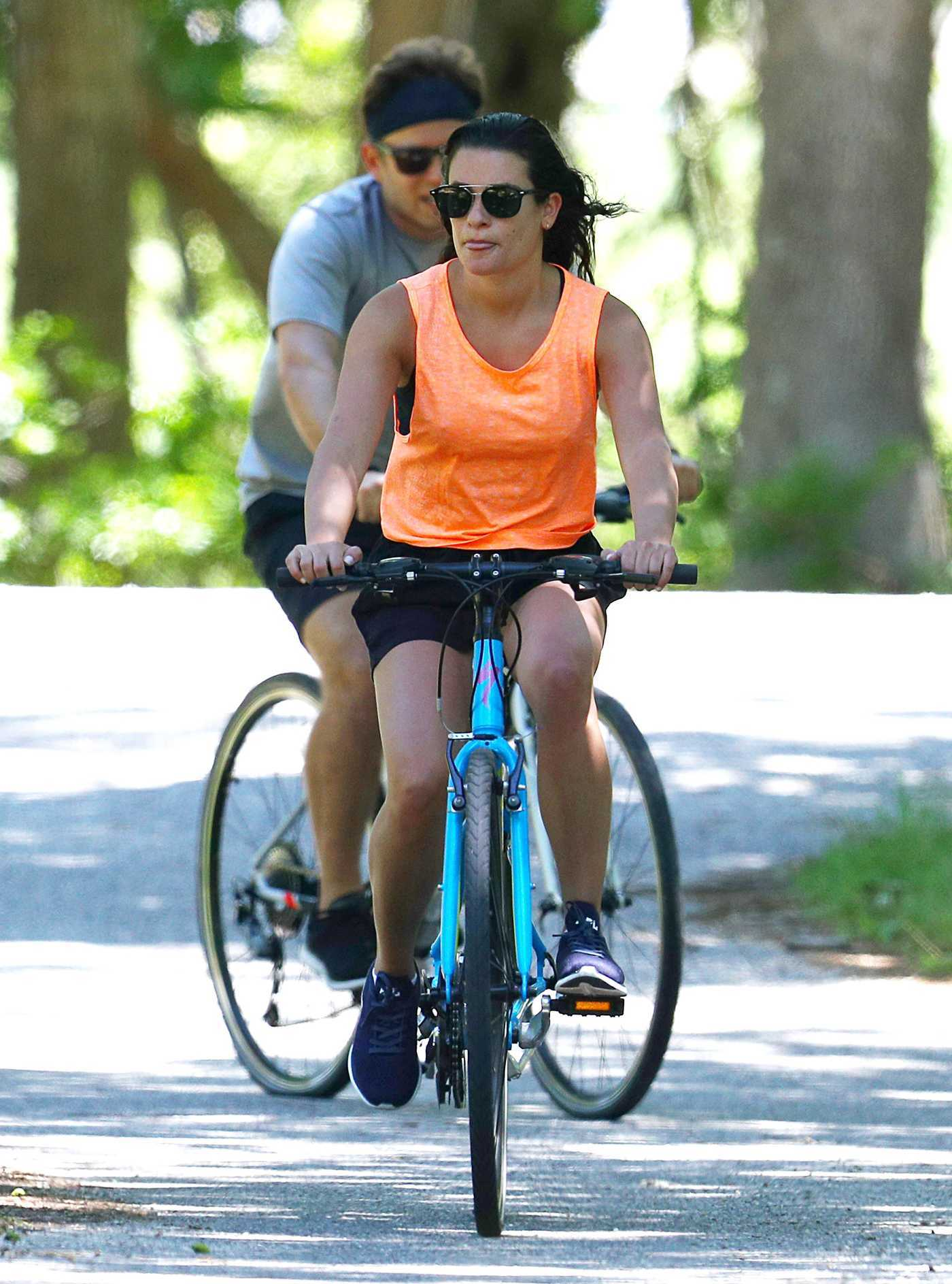 Lea Michele Does a Beach Bike Ride Out with Zandy Reich in the Hamptons, New York 07/09/2018