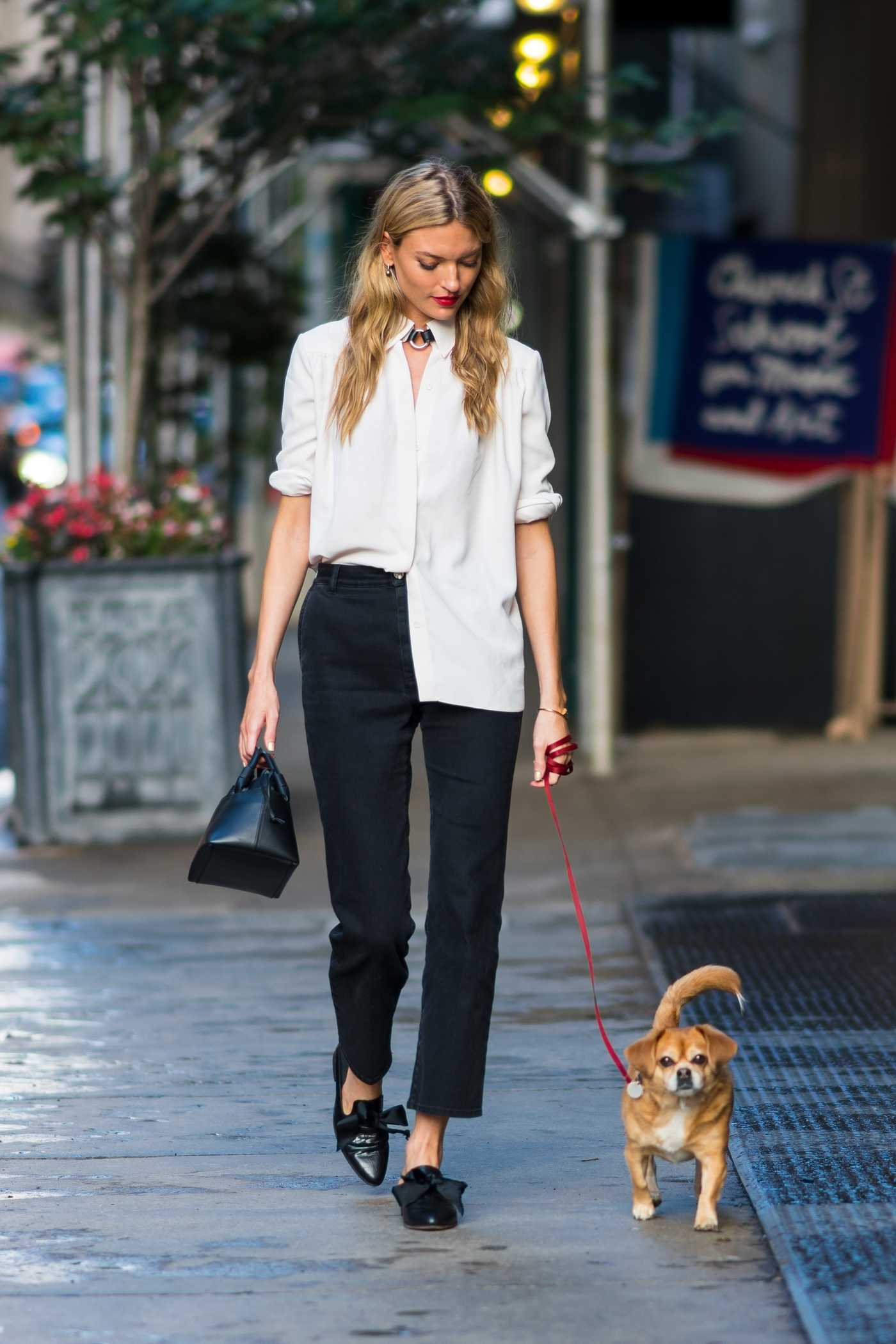 Martha Hunt Walks Her Dog in Tribeca, New York 06/28/2018