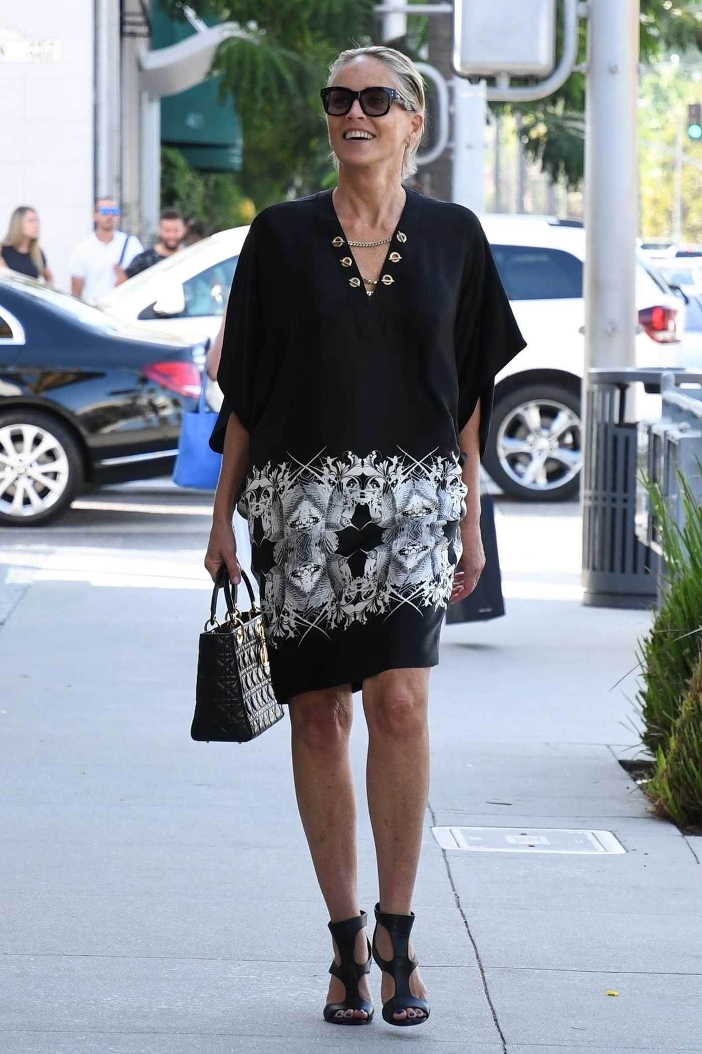 Sharon Stone in a Black Pattern Dress Out in Beverly Hills 07/19/2018