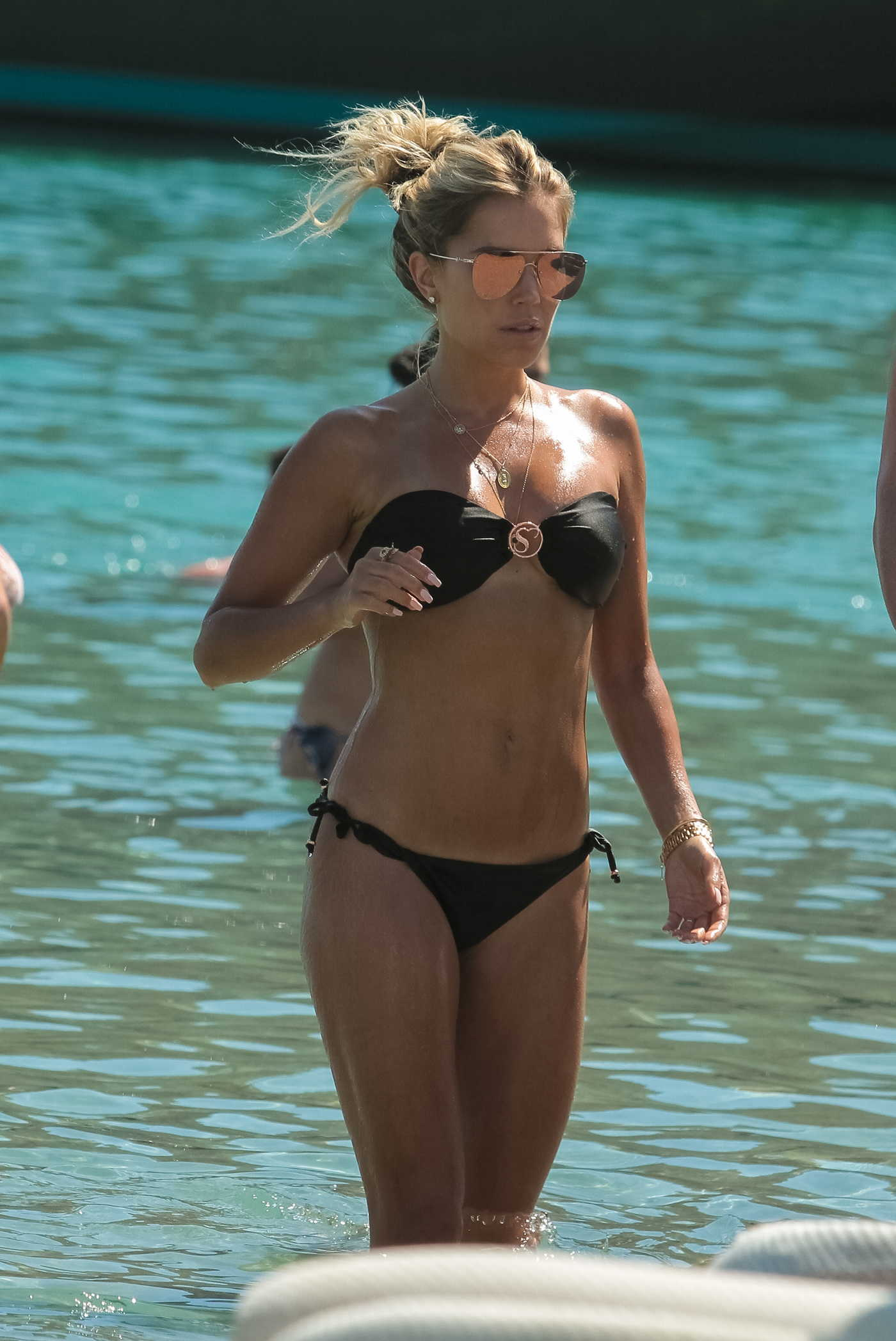 Sylvie Meis in a Black Bikini on the Beach in Mykonos 07/15/2018