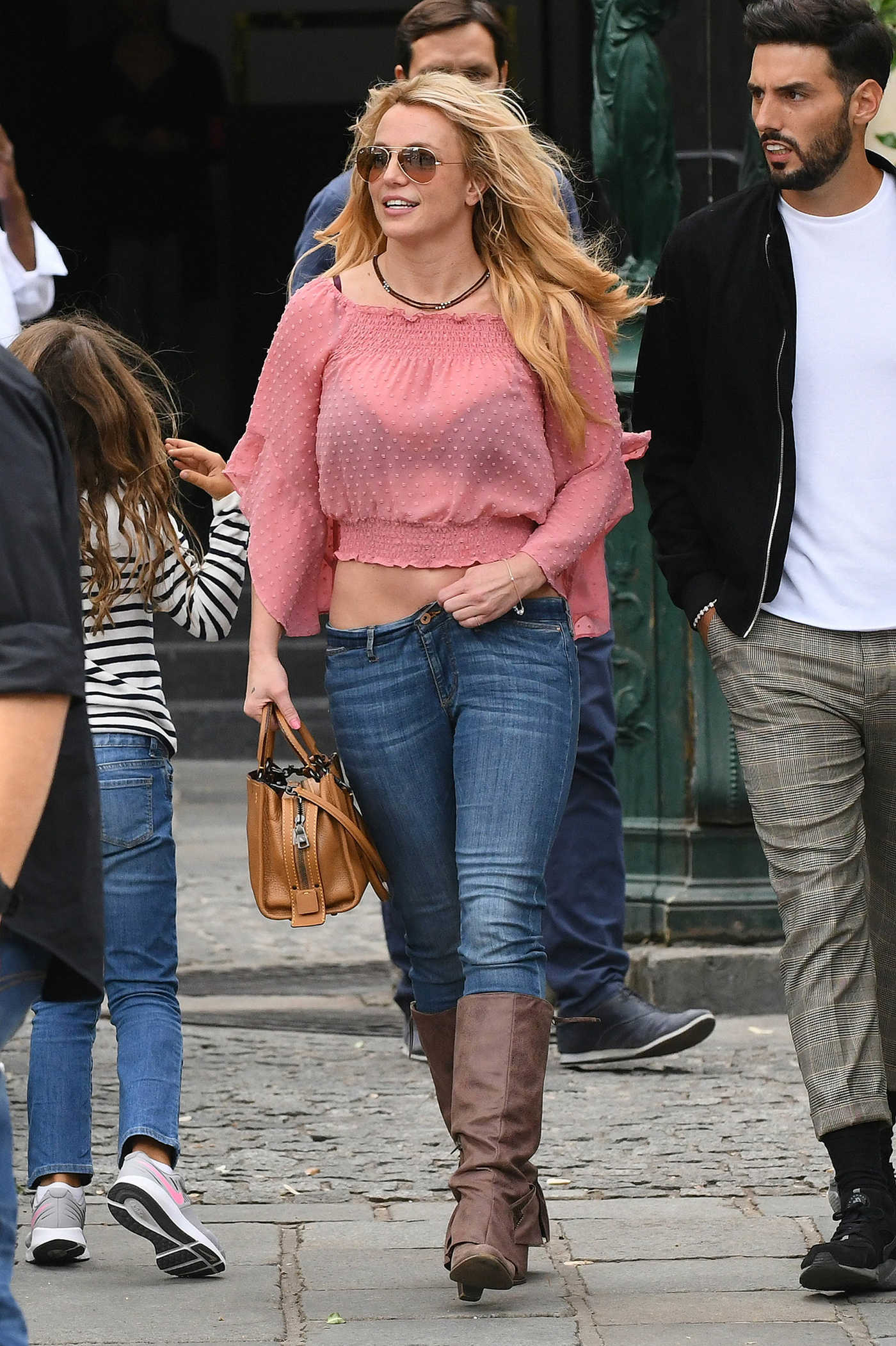 Britney Spears in a Pink Blouse Leaves La Society Restaurant in Saint Germain Area in Paris 08/27/2018