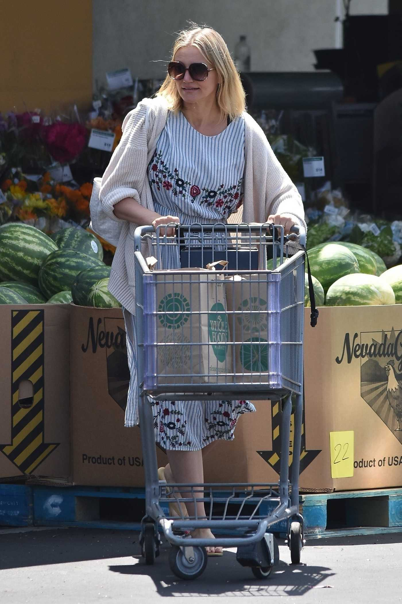 Cameron Diaz in a Striped Floral Print Dress Grabs Some Groceries from Whole Foods in Glendale 08/25/2018