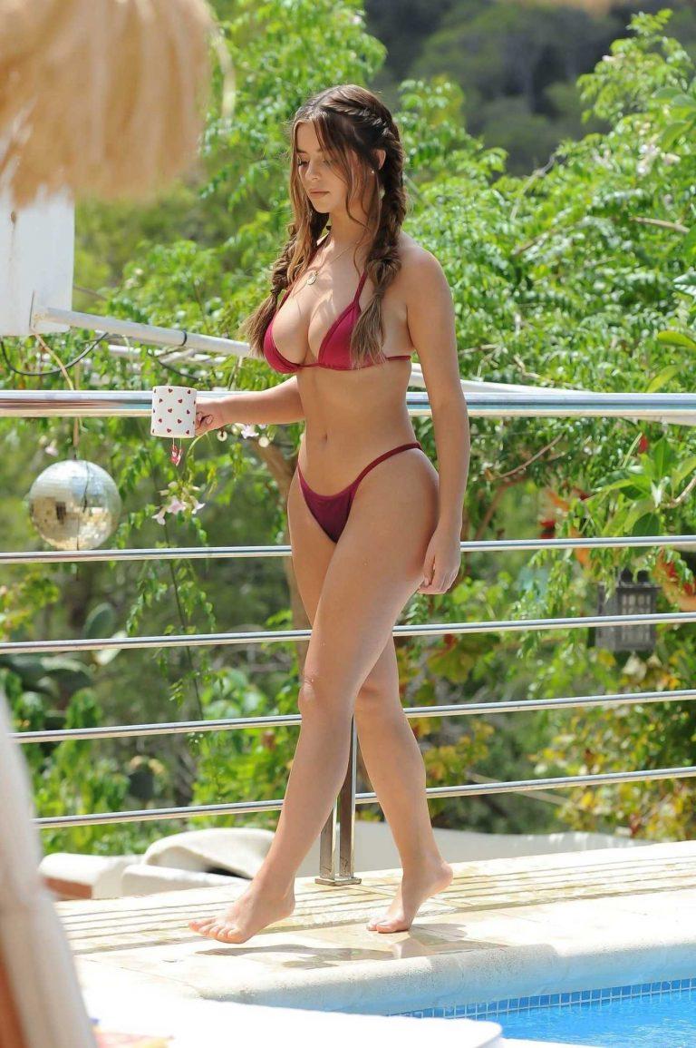 Demi Rose in a Red Bikini