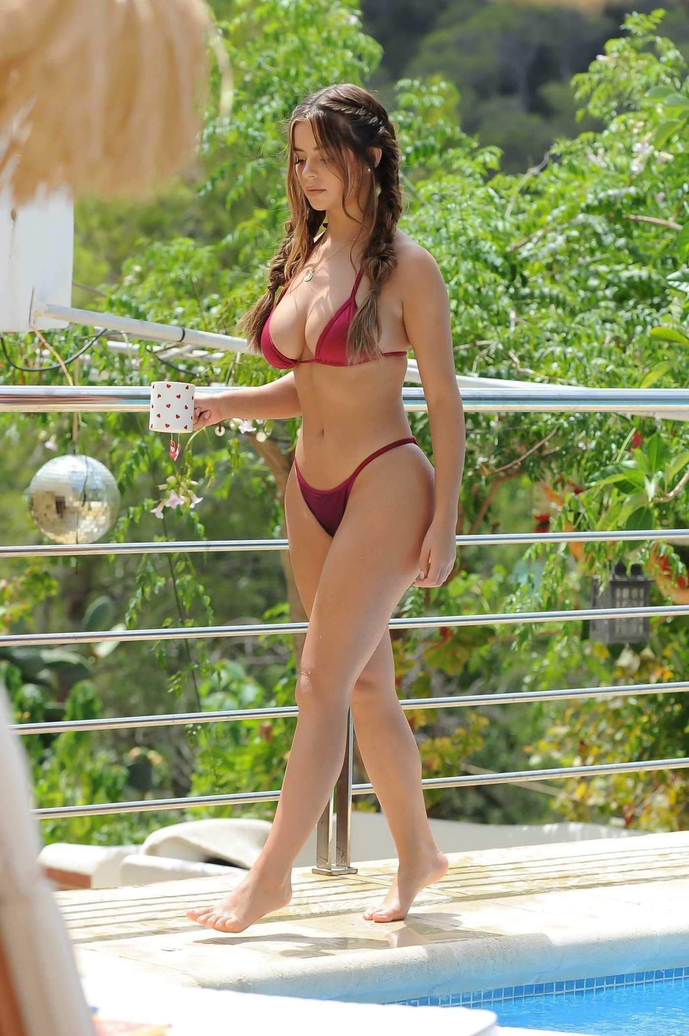 Demi Rose in a Red Bikini by the Pool in Ibiza 08/21/2018