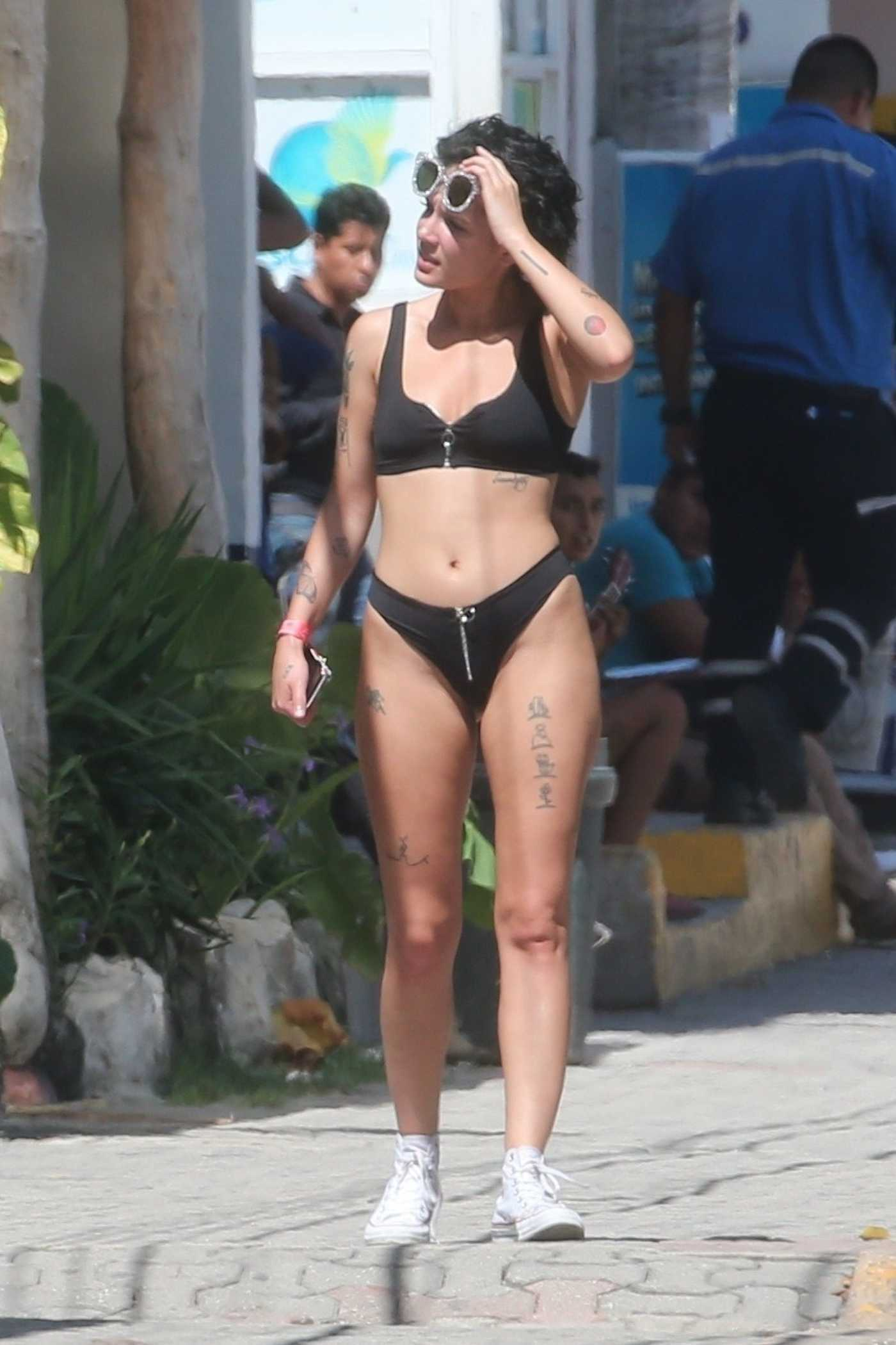 Halsey in a Black Bikini Out in Mexico 08/15/2018