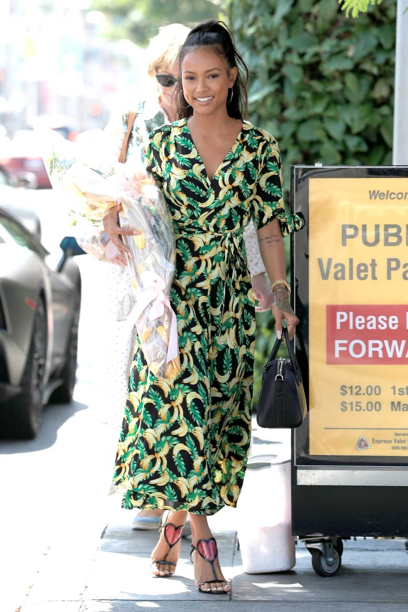Karrueche Tran in a Green Paisley Dress Stepped Out in Beverly Hills 08/27/2018