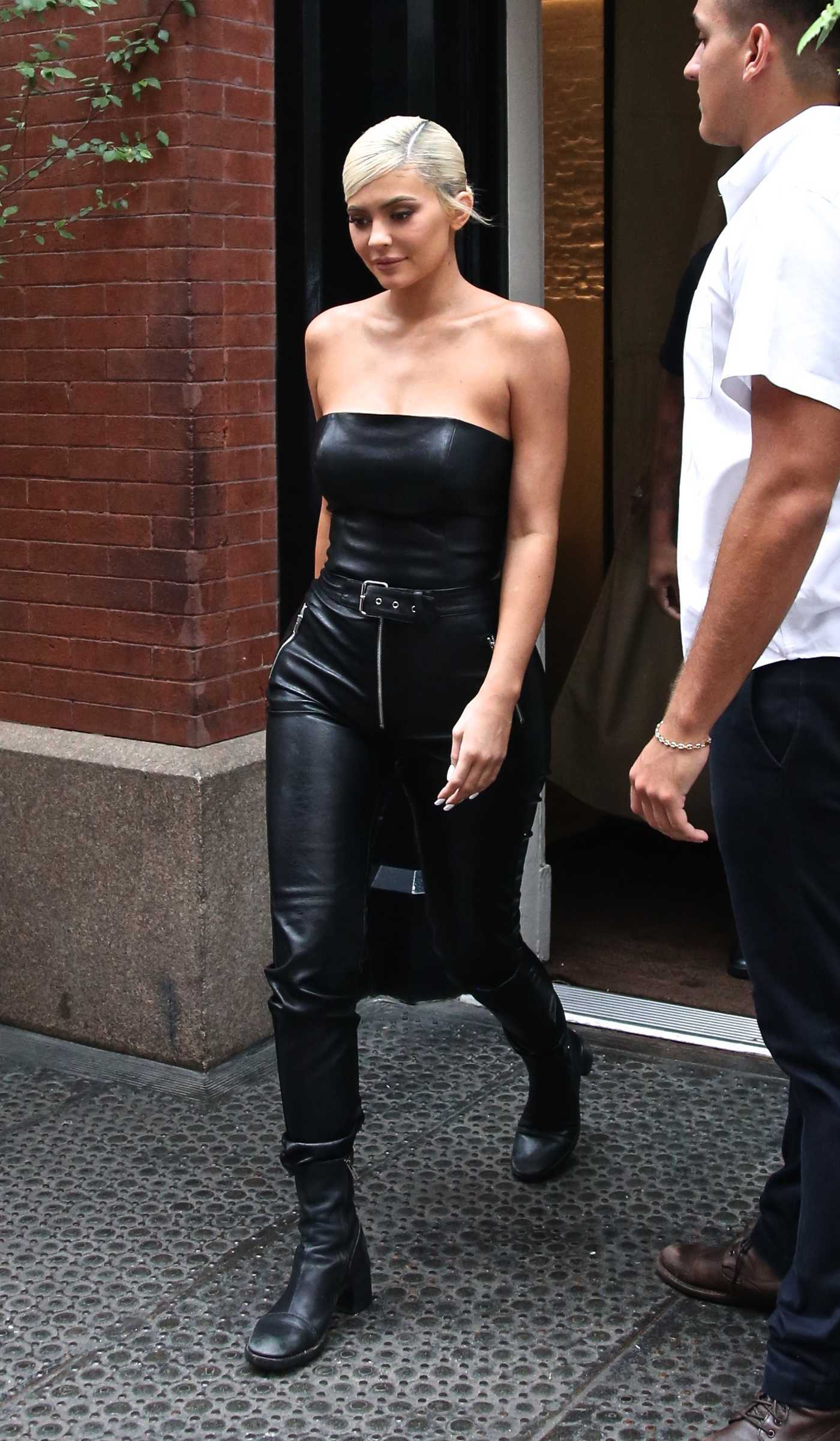 Kylie Jenner in a Black Leather Top Was Seen Out in NYC 08/20/2018