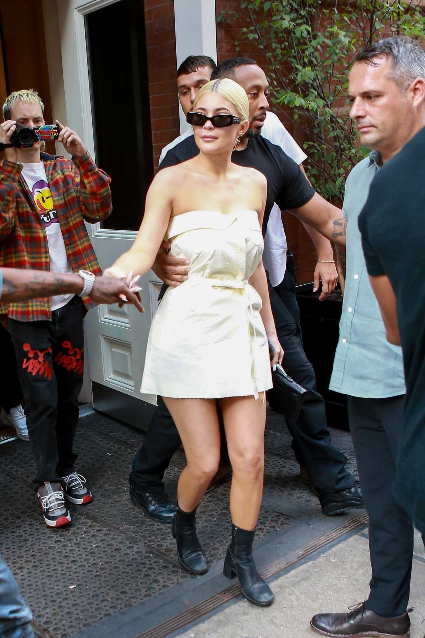 Kylie Jenner in a White Mini Dress Was Seen Out in NYC 08/21/2018