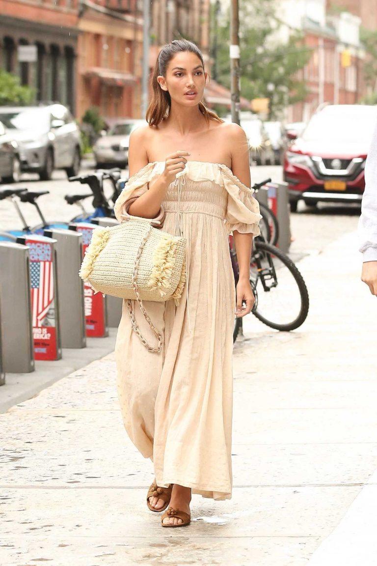 Lily Aldridge in a Beige Long Summer Dress