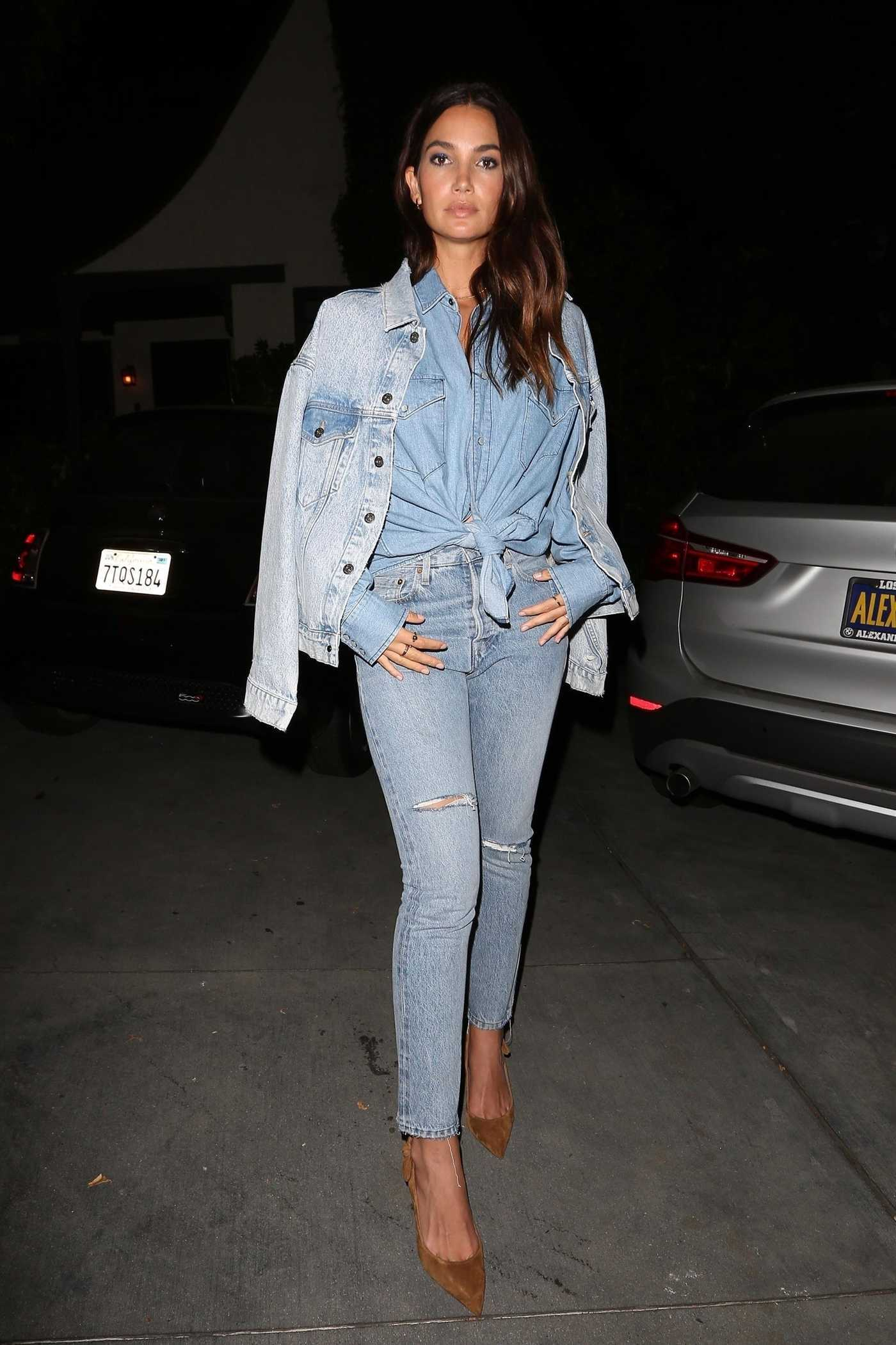 Lily Aldridge in All Denim Leaves Catch Restaurant in West Hollwood 08/17/2018