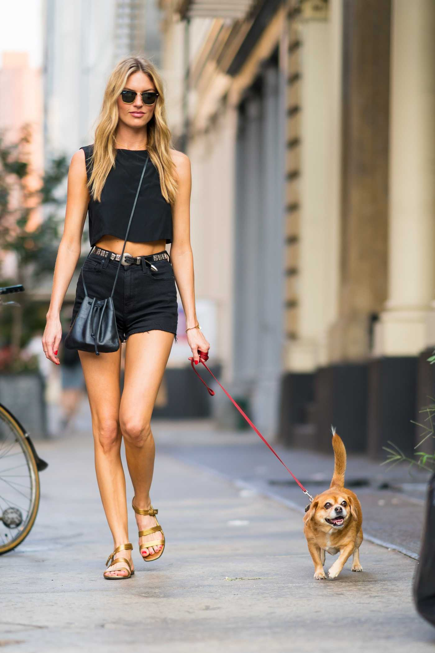 Martha Hunt in a Black Sunglasses Walks Her Dog Bear Out in New York City 08/06/2018