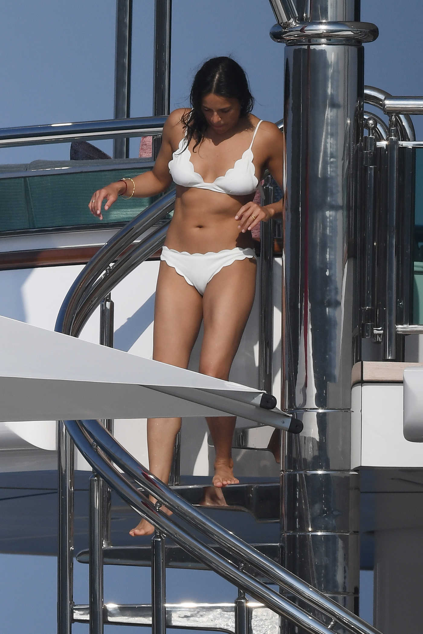 Michelle Rodriguez in a White Bikini on a Yacht in Sardinia 08/10/2018