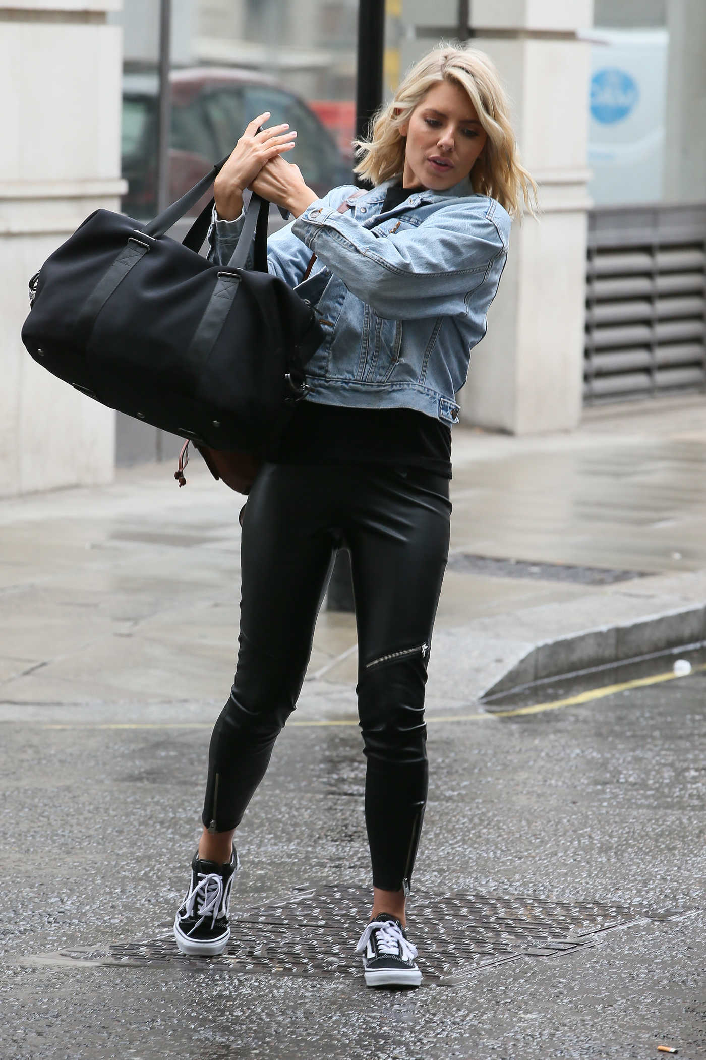 Mollie King in a Blue Denim Jacket Arrives at the BBC Radio 1 Studios in London 08/10/2018