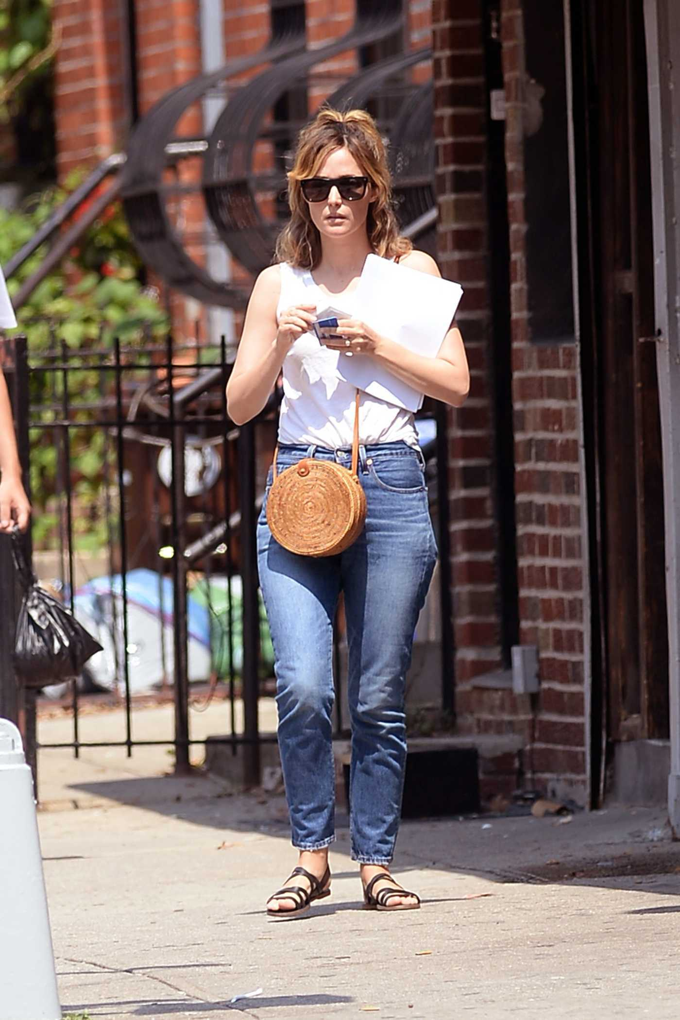 Rose Byrne in a White Tank Top Was Seen Out in Brooklyn, New York 08/06/2018