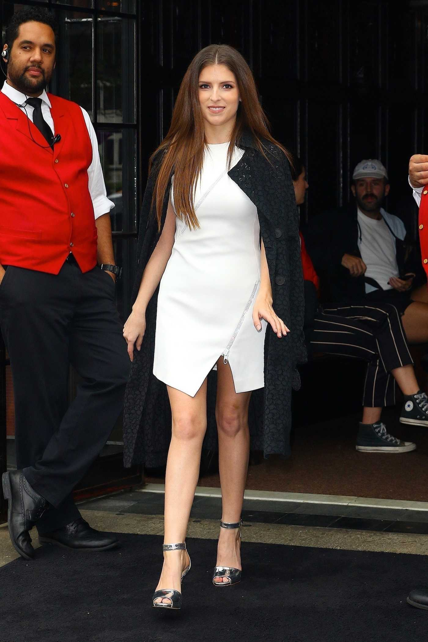 Anna Kendrick in a White Minidress Was Seen Out in New York 09/10/2018