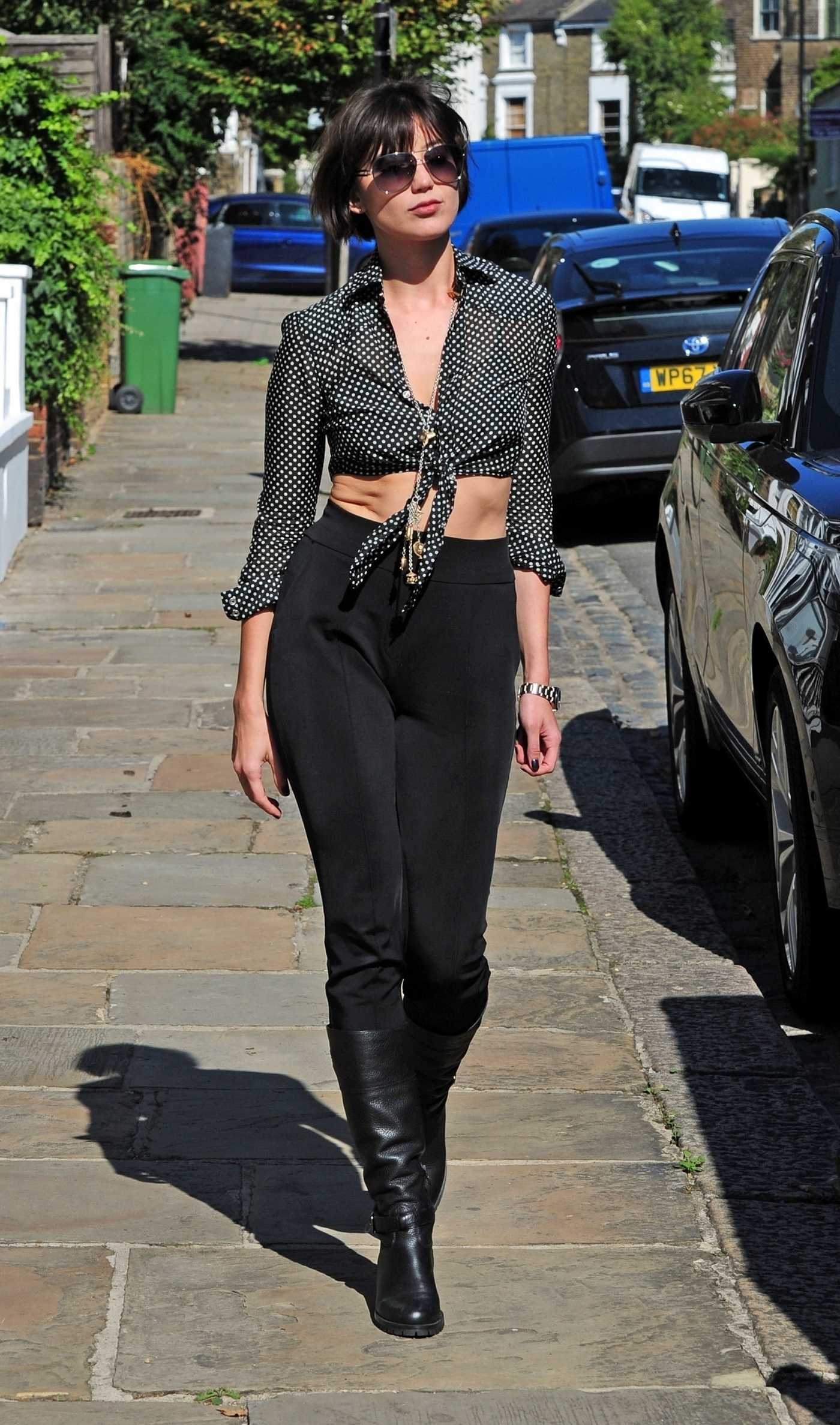 Daisy Lowe in a Cropped Polka Dot Blouse Was Seen Out in London 09/13/2018