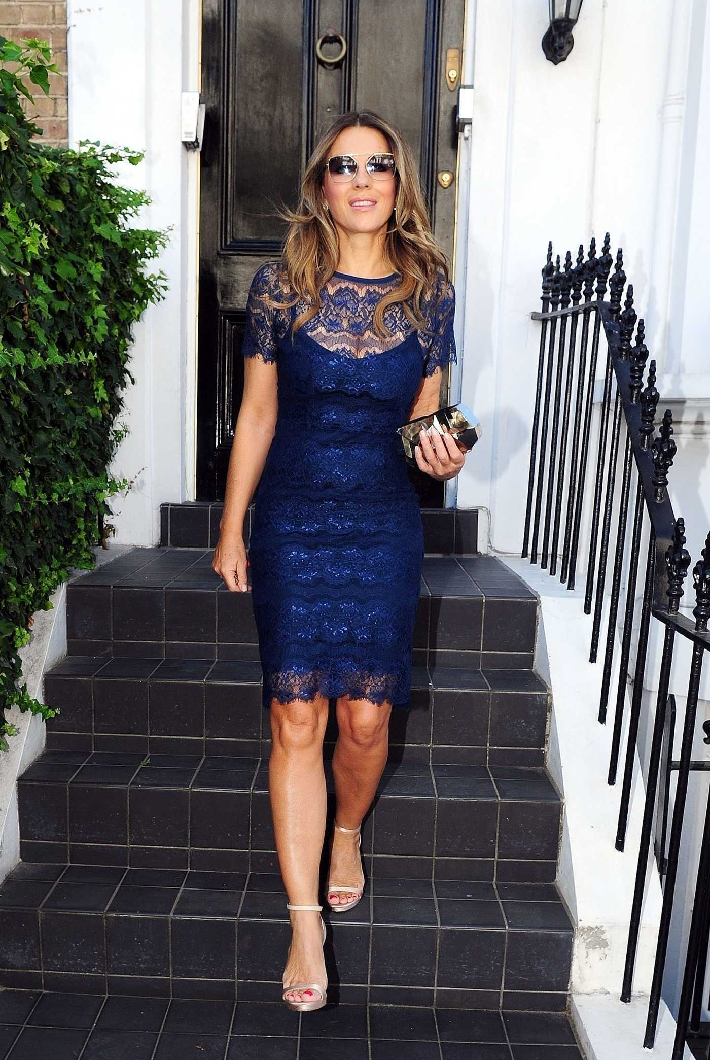 Elizabeth Hurley in a Blue Dress Leaves Her Home in West London 09/27/2018