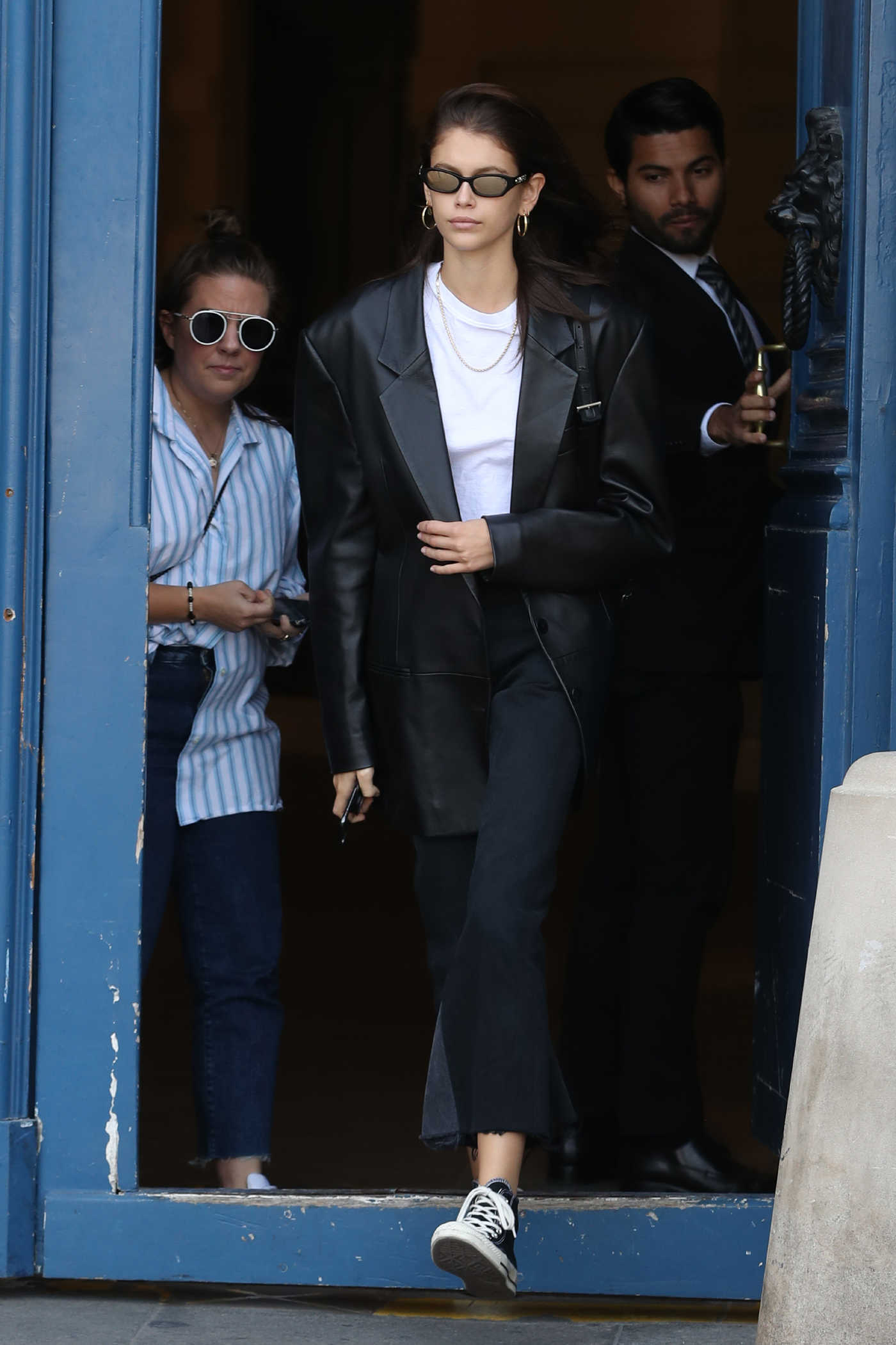 Kaia Gerber in a Black Leather Jacket Was Seen Out in Paris 09/29/2018