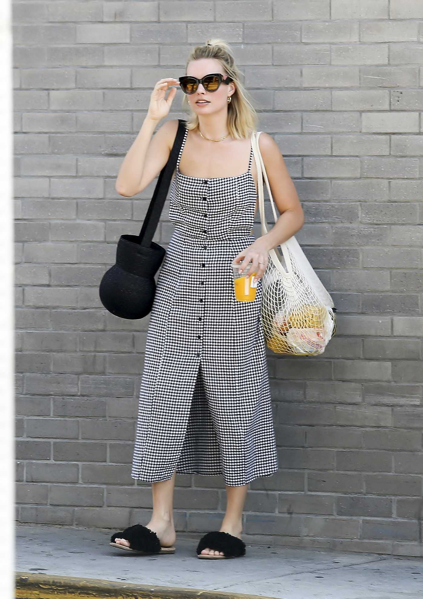 Margot Robbie in a Checked Sundress Was Seen Out in Los Angeles 09/09/2018