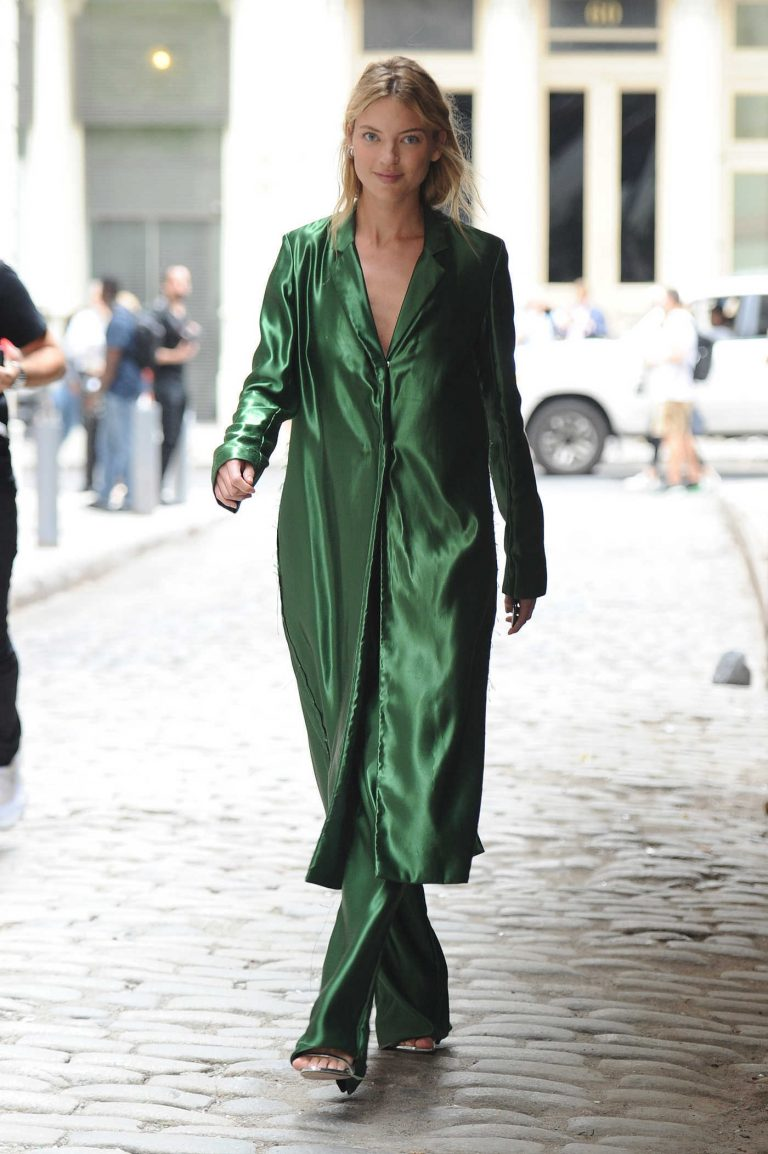 Martha Hunt in a Green Trench Coat
