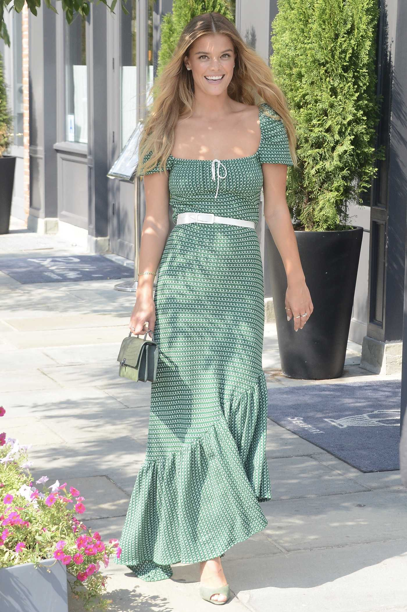 Nina Agdal in a Long Green Dress Was Seen Out in New York City 09/06/2018