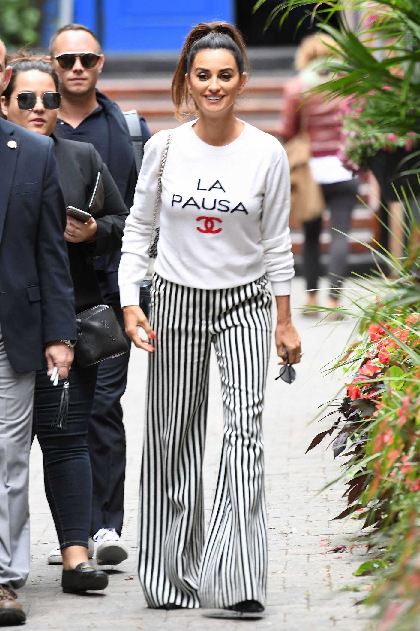Penelope Cruz in a Striped Trousers Was Seen Out in Toronto 09/09/2018