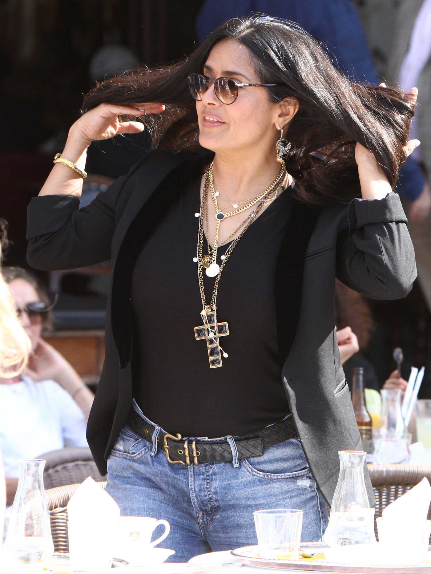 Salma Hayek in a Blue Ripped Jeans Was Seen Out in Venice 09/02/2018