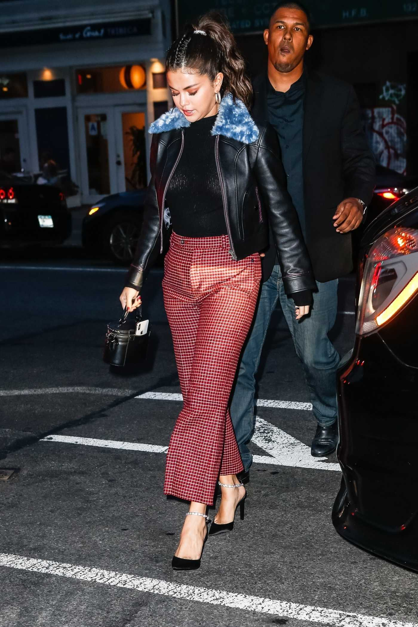 Selena Gomez in a Red Checked Trousers Was Seen Out in New York 09/11/2018