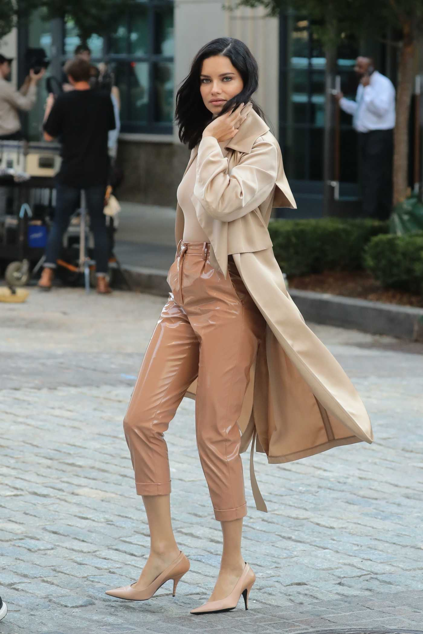 Adriana Lima in a Leather Beige Pants During a Photoshoot in NYC 10/04/2018