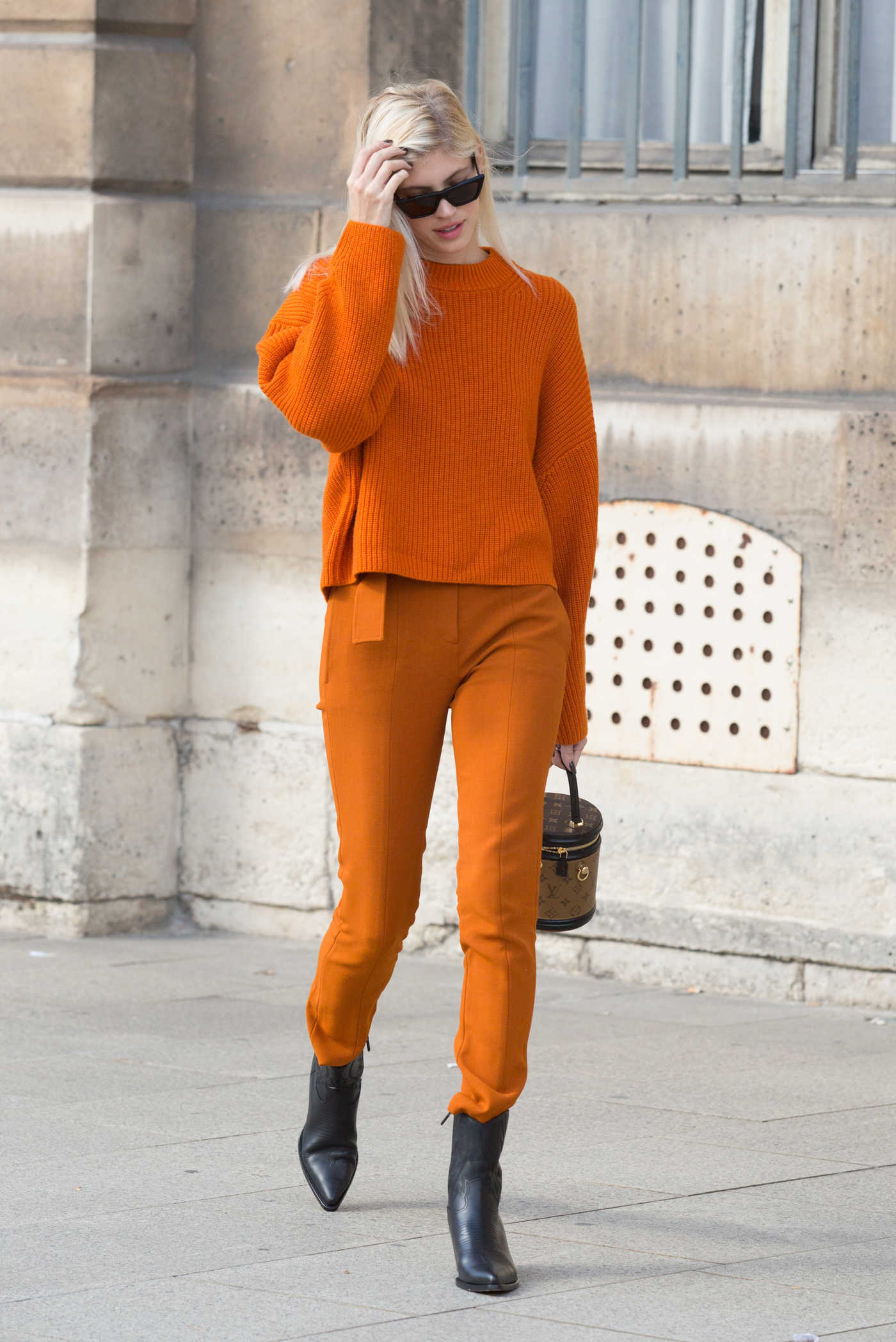 Devon Windsor in an Orange Trousers Was Seen Out in Paris 10/01/2018