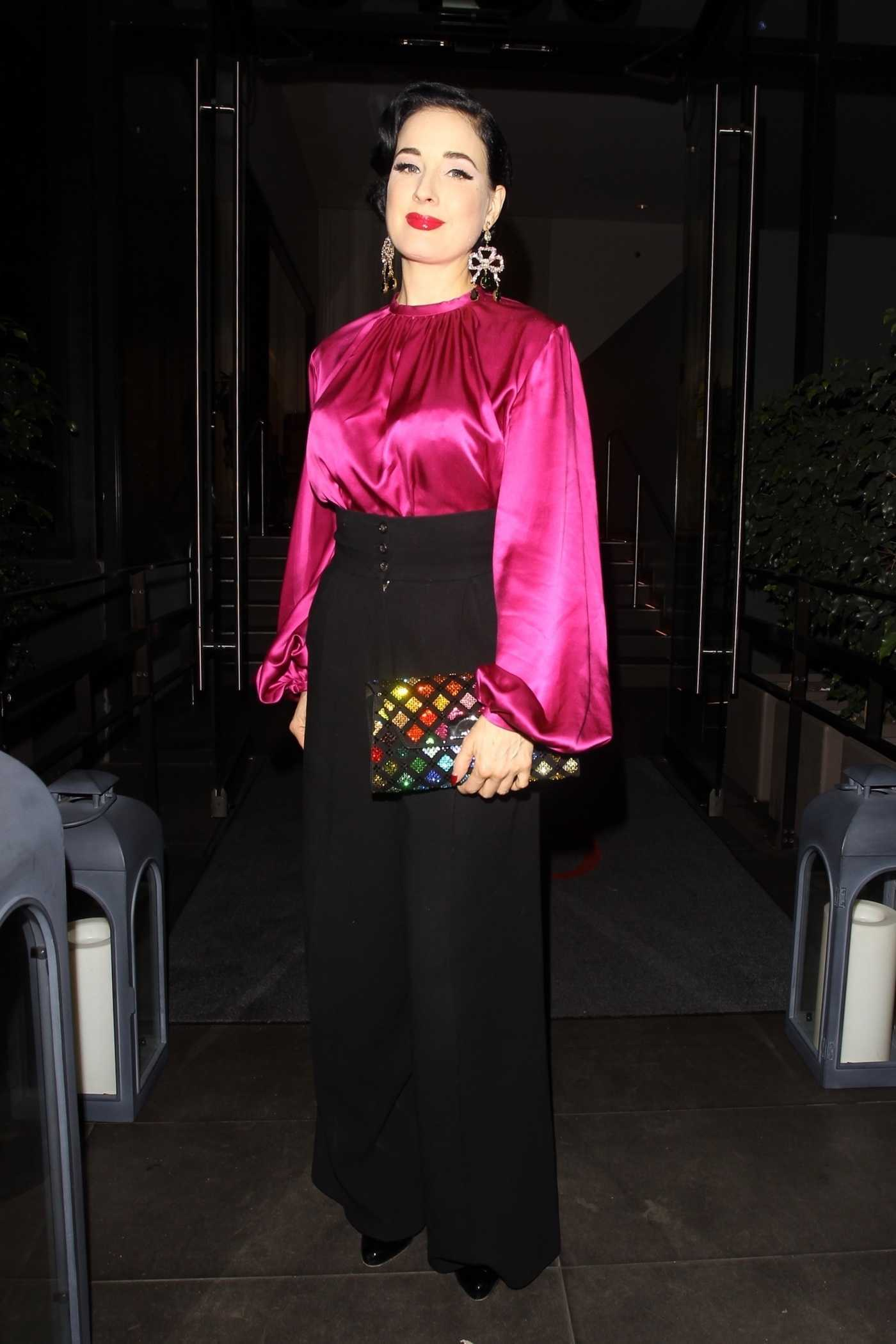 Dita Von Teese in a Fuchsia Blouse Leaves N10 Restaurant in West Hollywood 09/28/2018