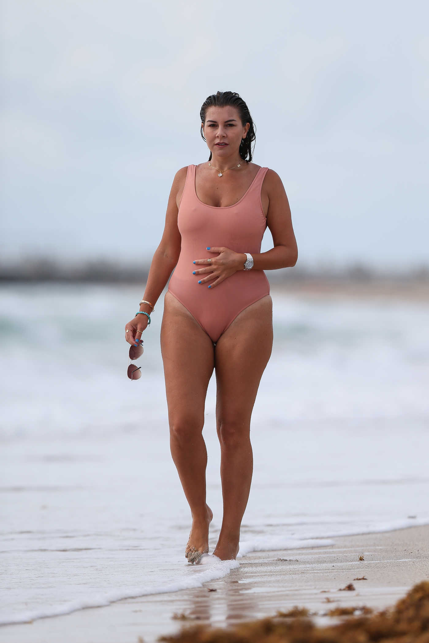 Imogen Thomas in a Pink Swimsuit on the Beach in Miami 10/02/2018