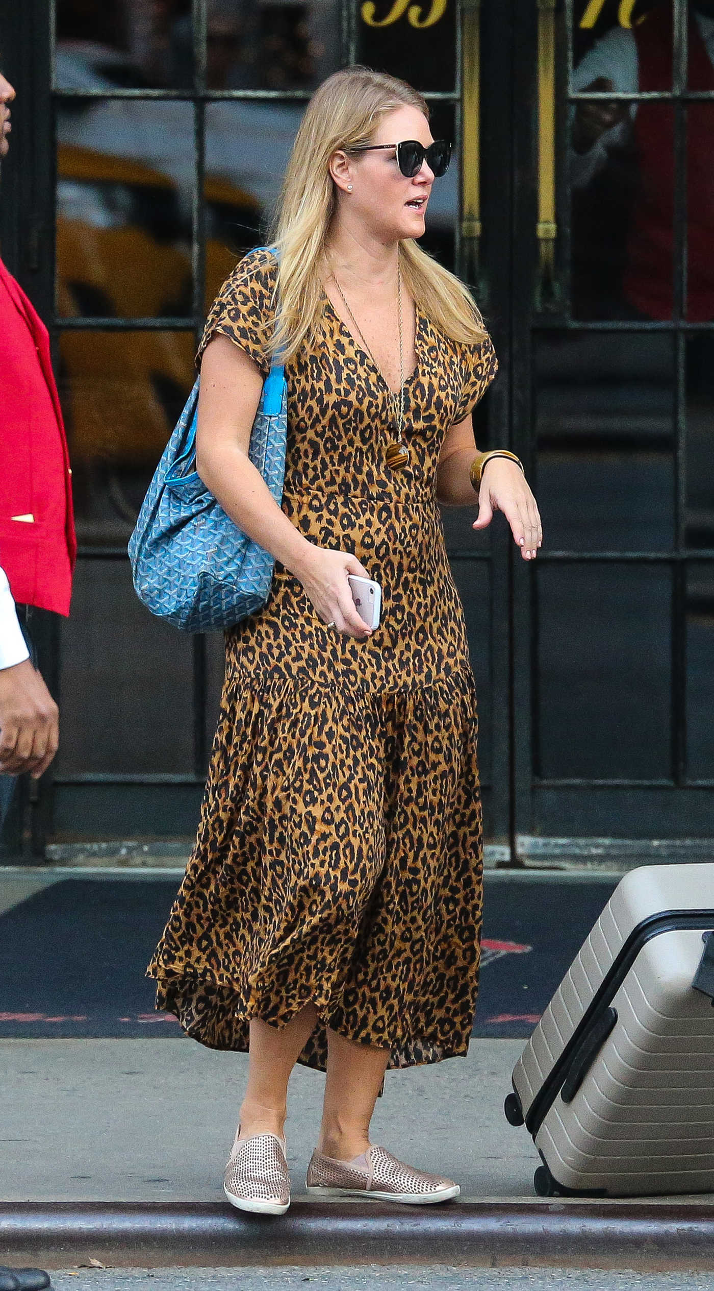 Julia Stiles in a Long Animal Print Dress Leaves Her Hotel in NYC 09/30/2018