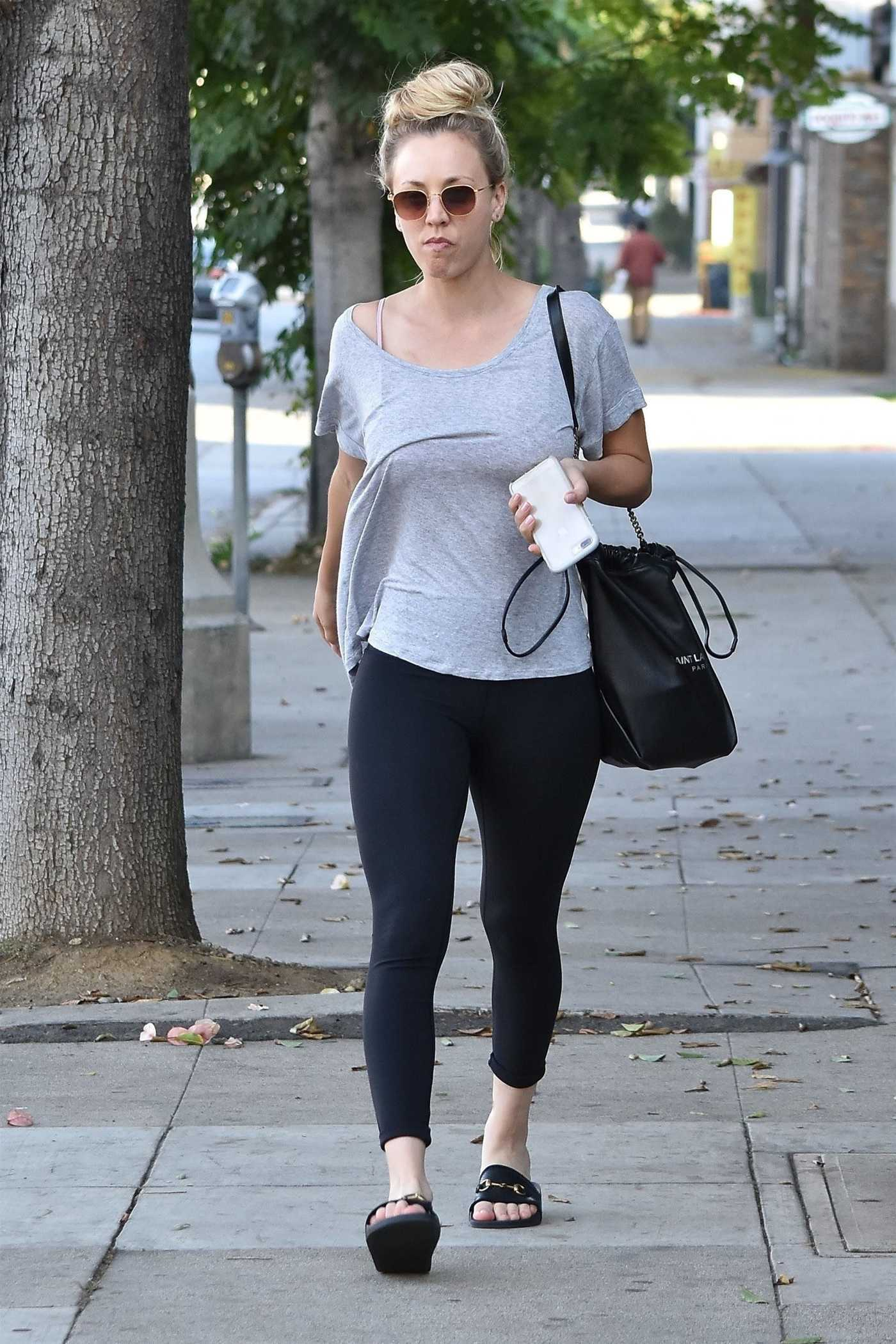 Kaley Cuoco in a Gray T-Shirt Leaves a Nail Salon in Sherman Oaks 10/25/2018
