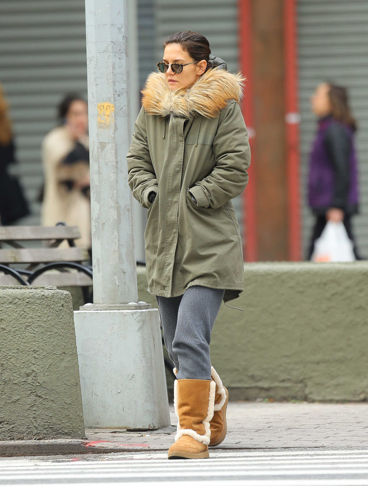 Katie Holmes in a Green Parka Was Seen Out in New York City 10/26/2018