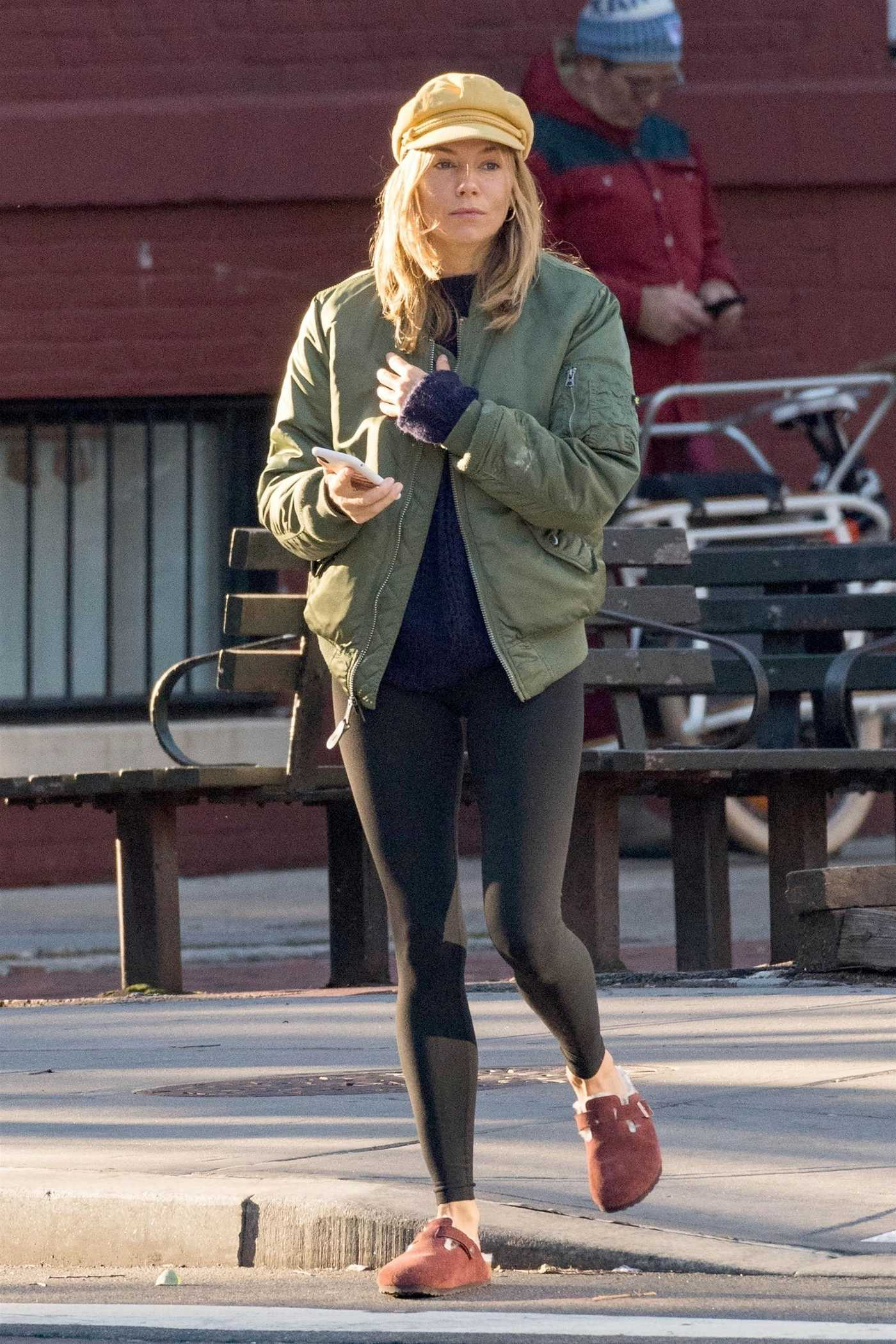 Sienna Miller in a Green Bomber Jacket Was Seen Out in NYC 10/18/2018