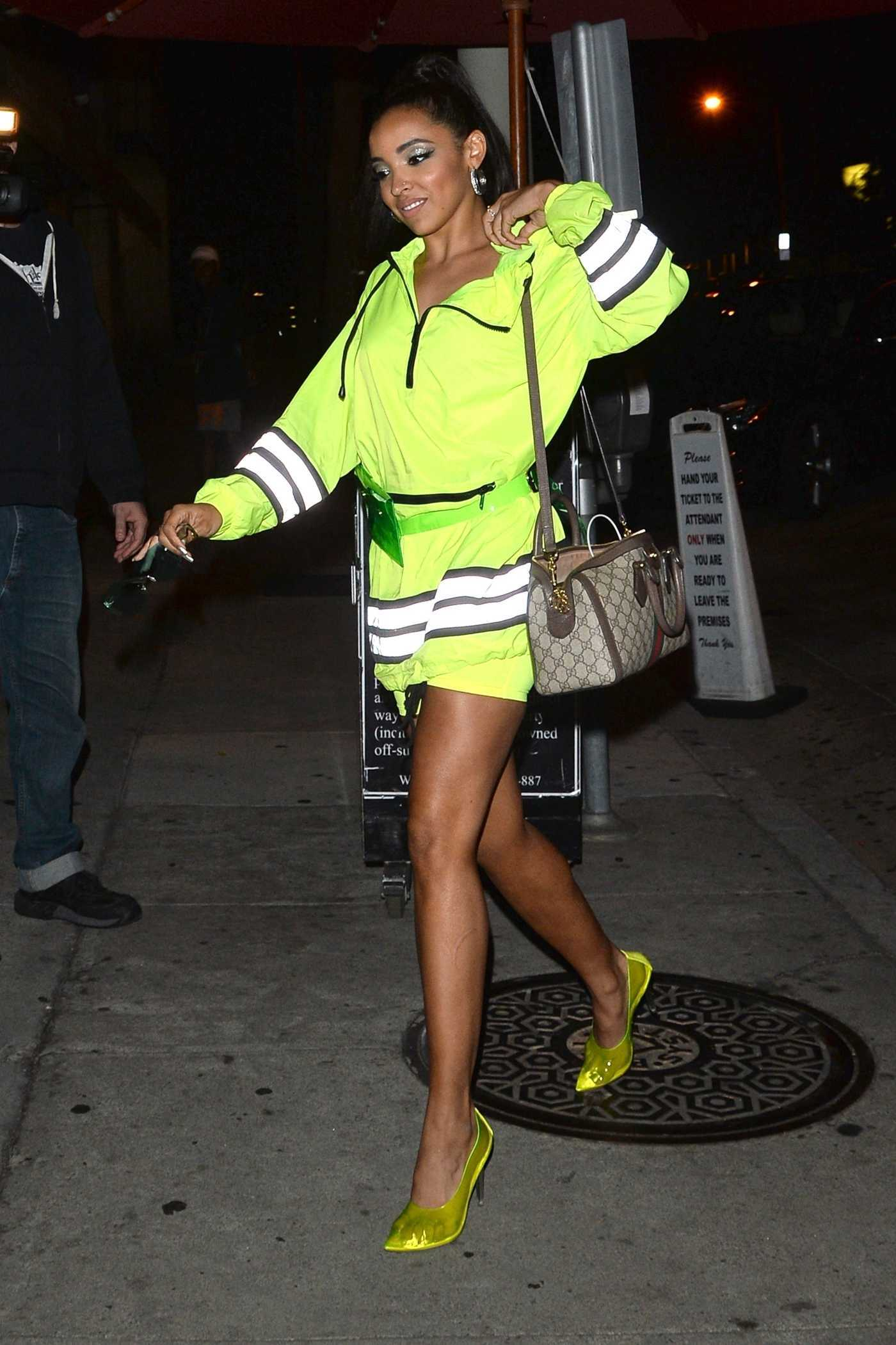 Tinashe in a Chartreuse Dress Arrives at Craig's Restaurant in West Hollywood 10/01/2018