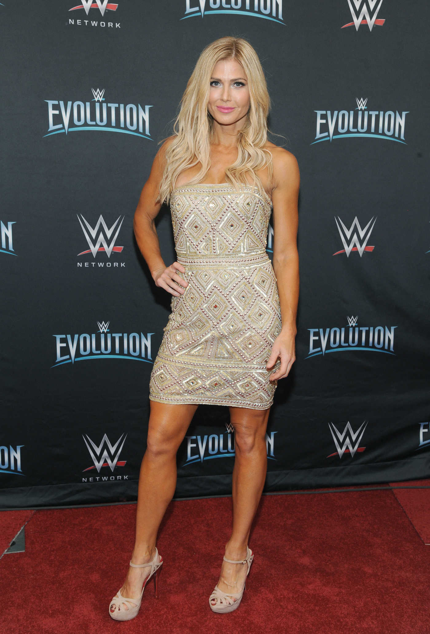 Torrie Wilson Attends WWE's First Ever All-Women's Event Evolution Red Carpet at the Nassau Veteran's Memorial Coliseum in Uniondale 10/28/2018