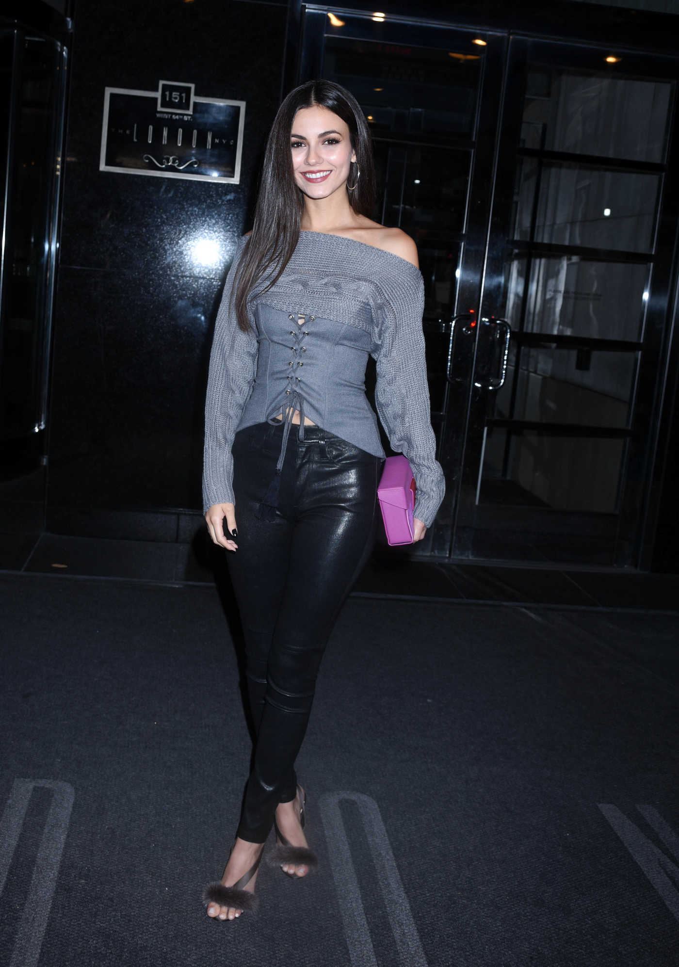 Victoria Justice in a Black Leather Pants Leaves Her Hotel in New York 10/16/2018