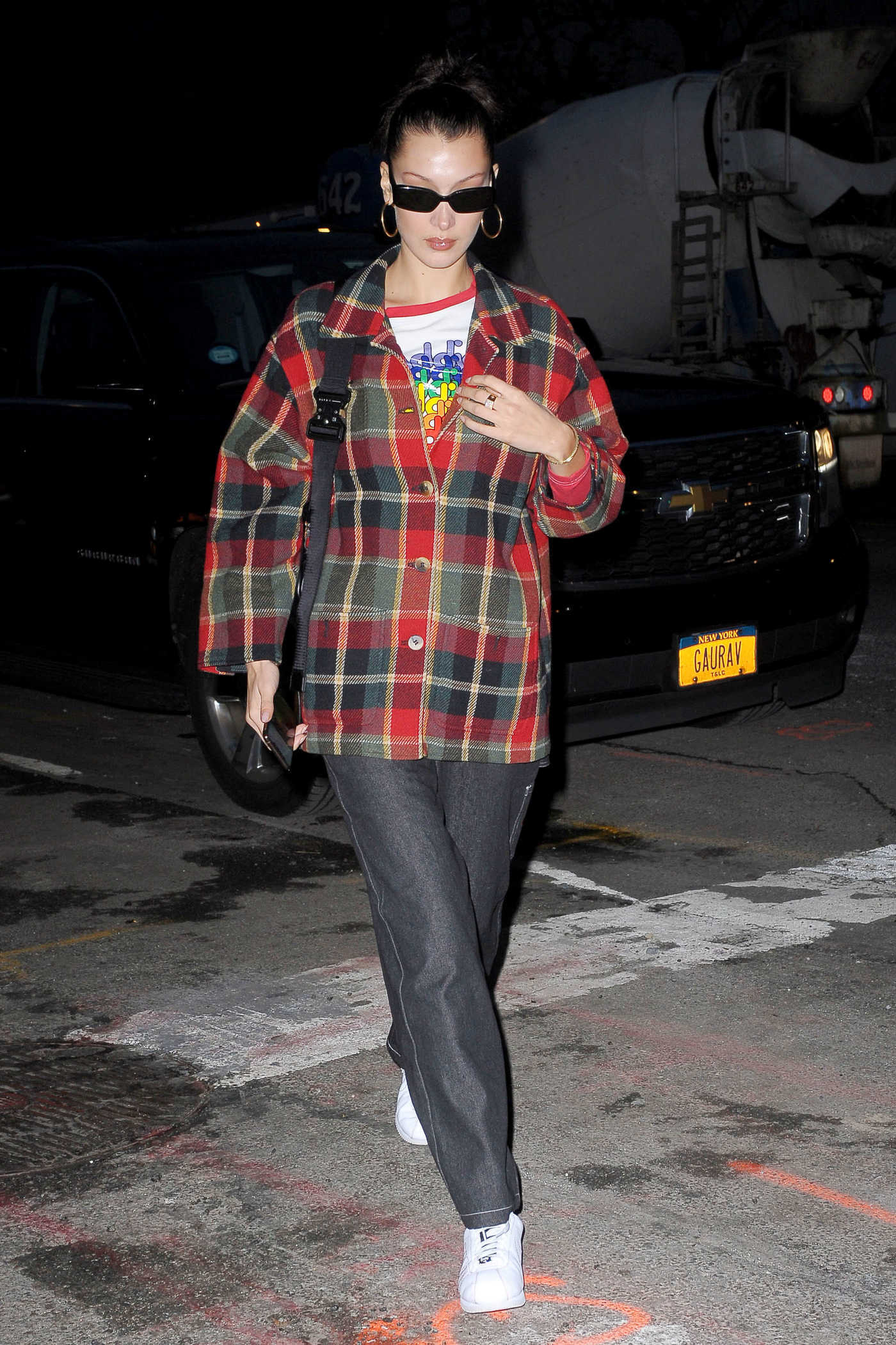 Bella Hadid in a Red Plaid Blazer Returns Home in New York 11/13/2018