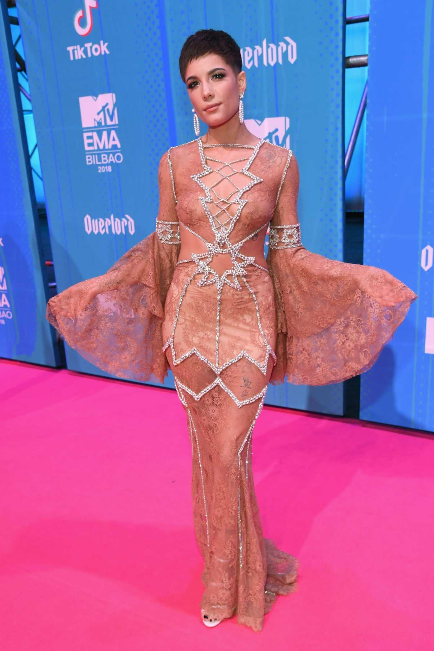 Halsey attends Attends 2018 MTV EMAs at the Bilbao Exhibition Centre in Bilbao, Spain 11/04/2018